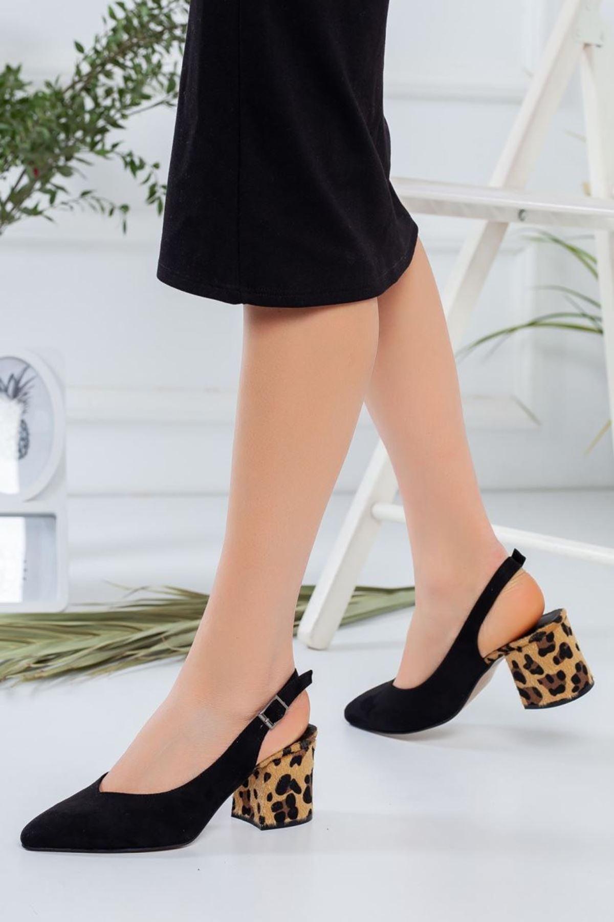 Kadın Porter Leopar Detaylı Siyah Kısa Topuklu Ayakkabı