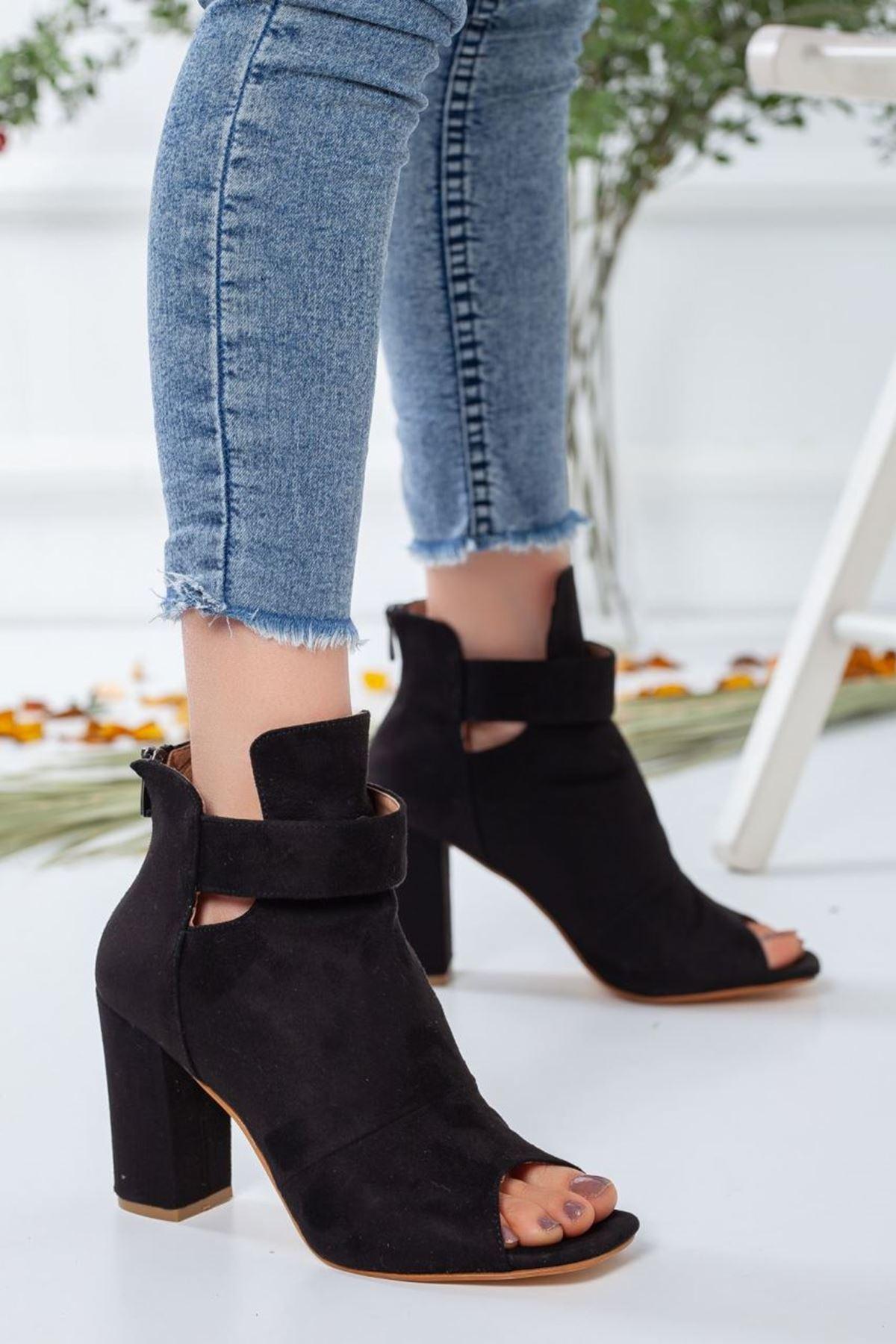 Kadın Miranda Süet Topuklu Ayakkabı Siyah