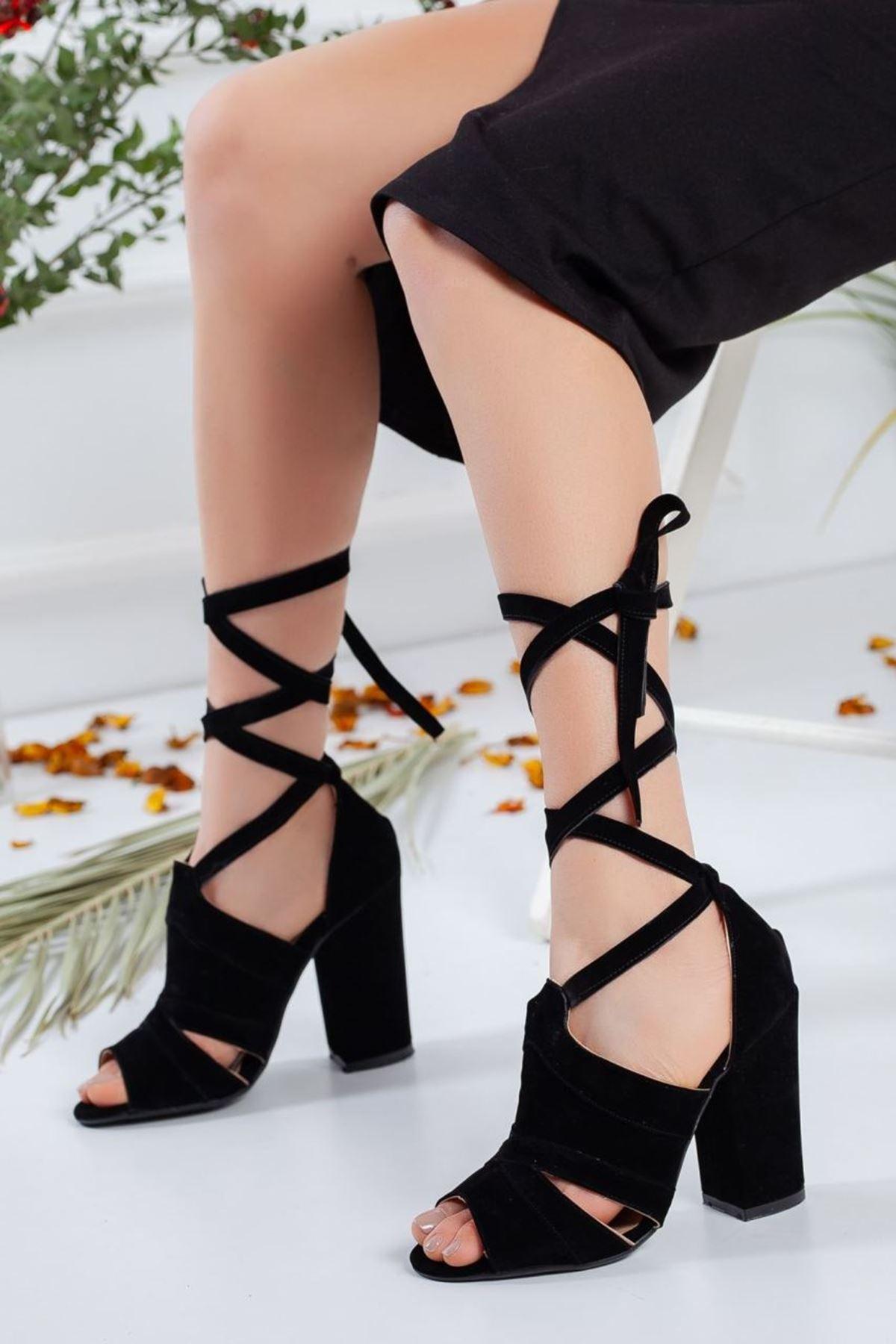 Kadın Hera Süet Bağcıklı Topuklu Ayakkabı Siyah
