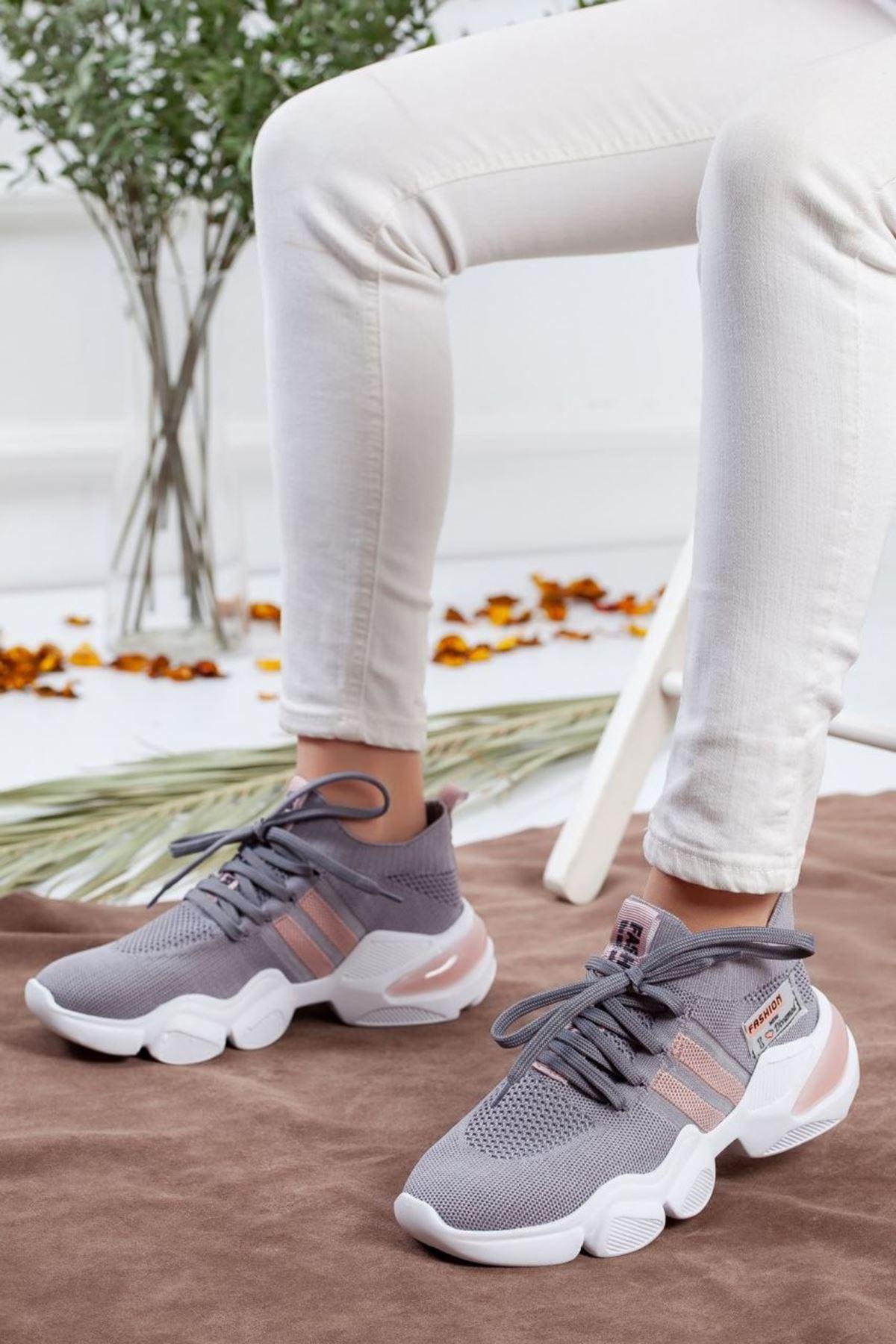 Kadın Sigma Triko Spor Ayakkabı Gri