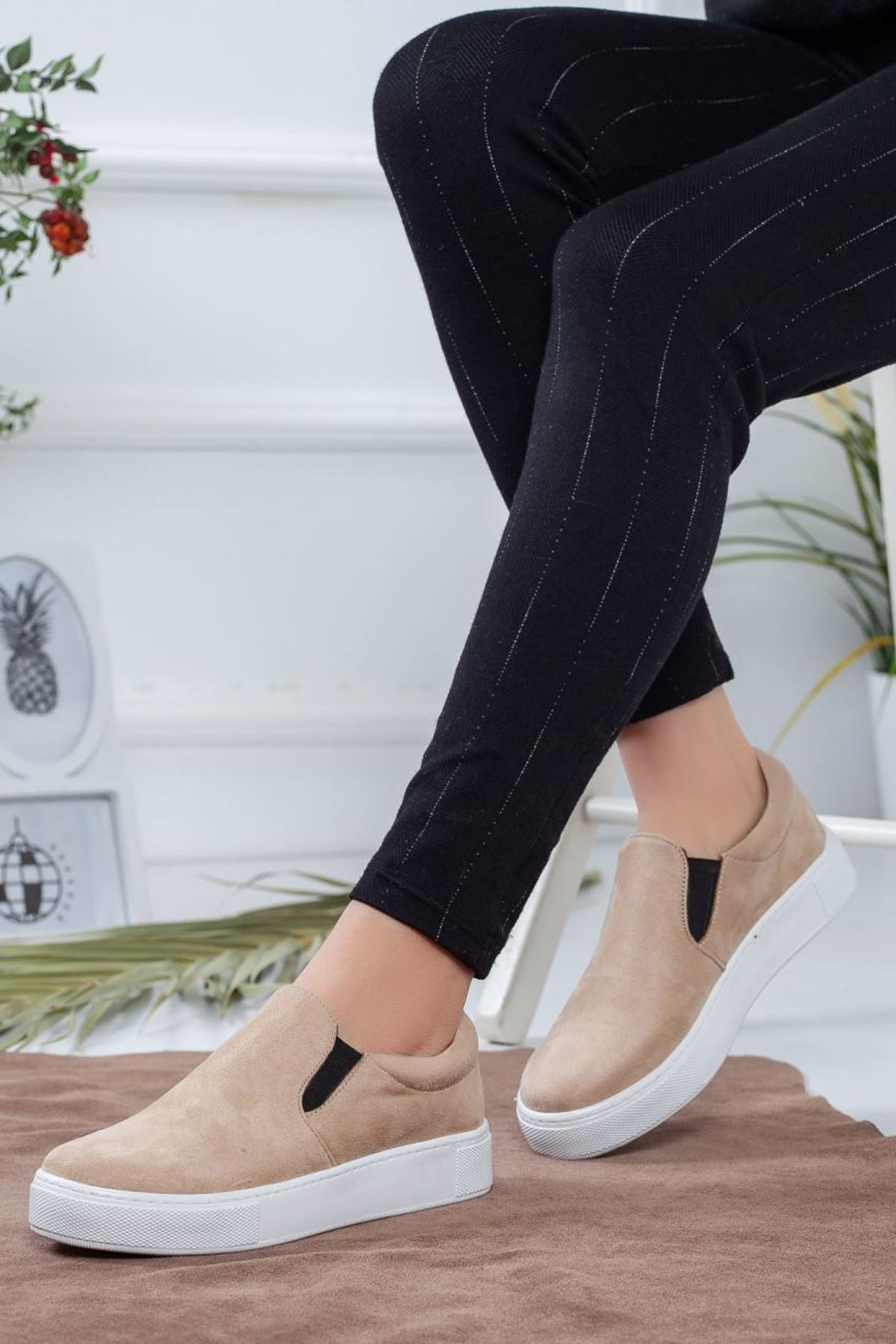 Kadın Tina Süet Spor Ayakkabı Vizon