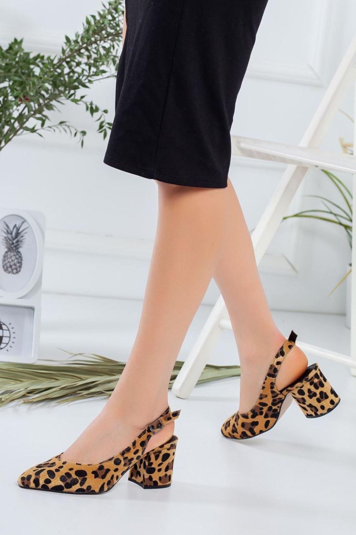 Kadın Porter Leopar Desenli Kısa Topuklu Ayakkabı