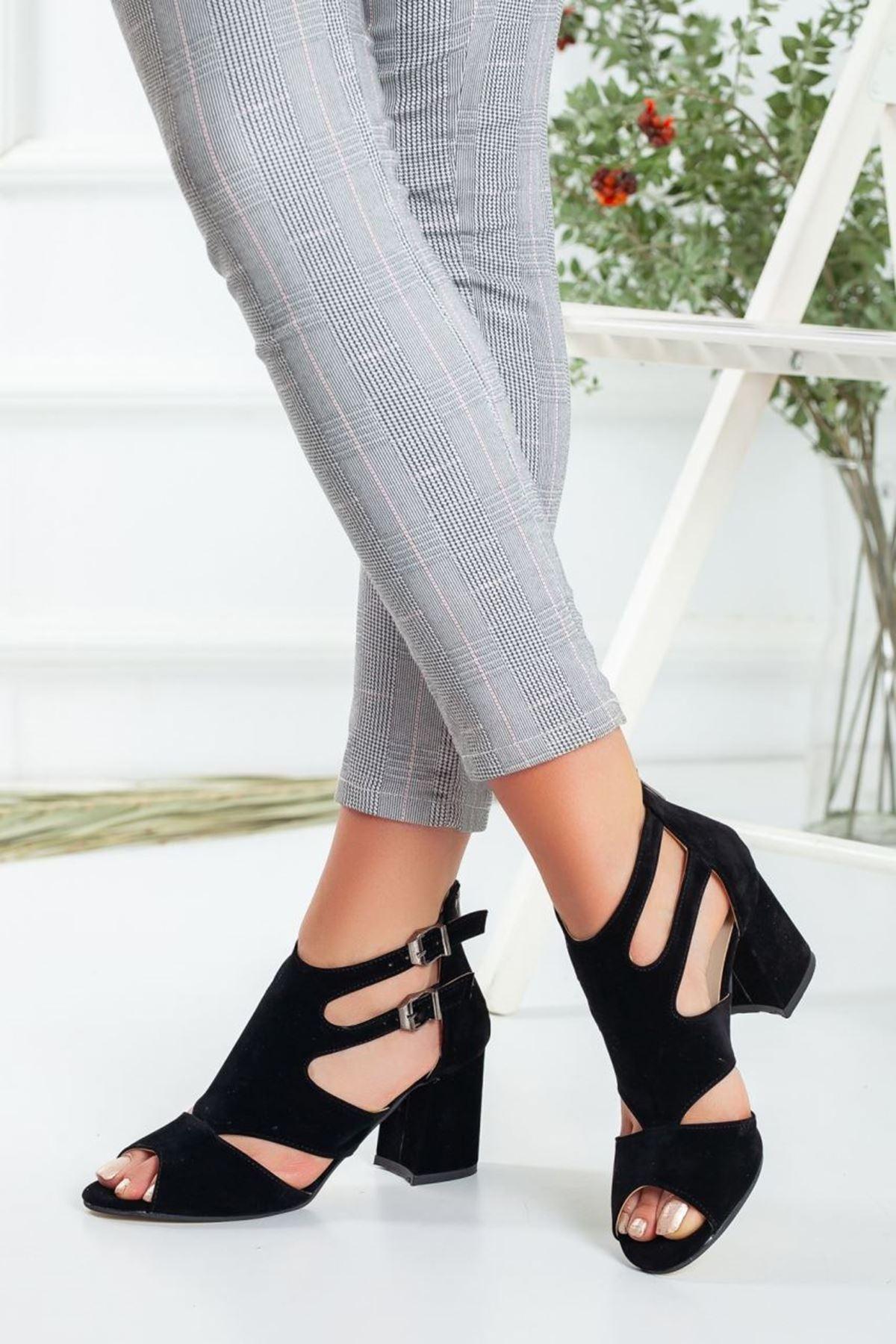 Kadın Desire Süet Kısa Topuklu Ayakkabı Siyah