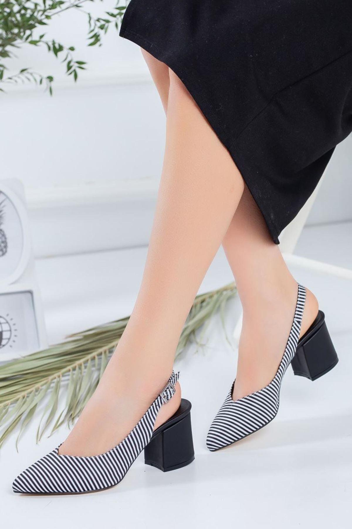 Kadın Porter Siyah Çizgili Kısa Topuklu Ayakkabı