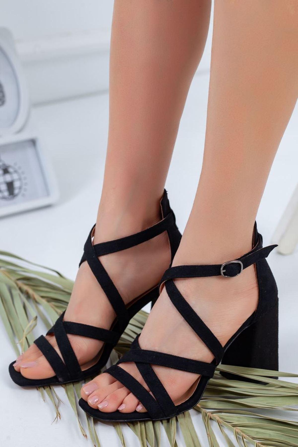 Kadın Proma Siyah Süet Topuklu Ayakkabı