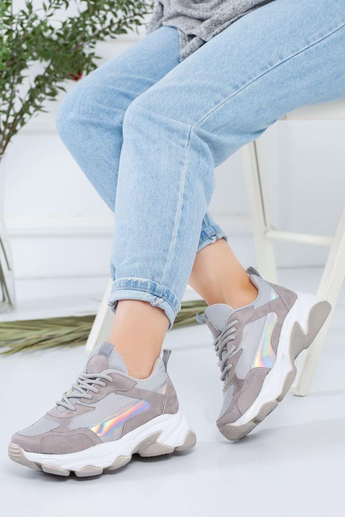 Kadın Reborn Gri Sneakers Ayakkabısı