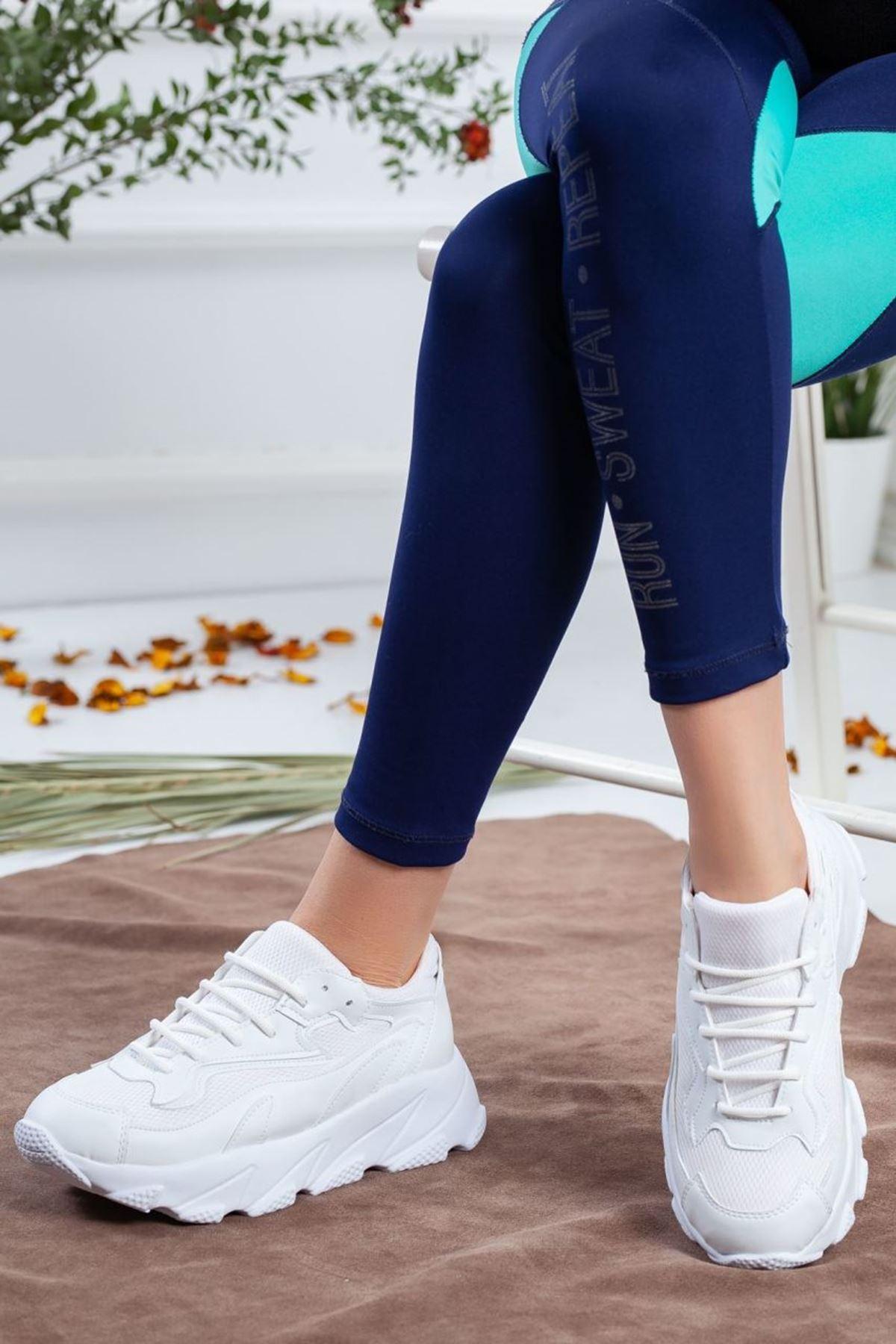 Kadın Eros Mat Deri Spor Ayakkabı Beyaz