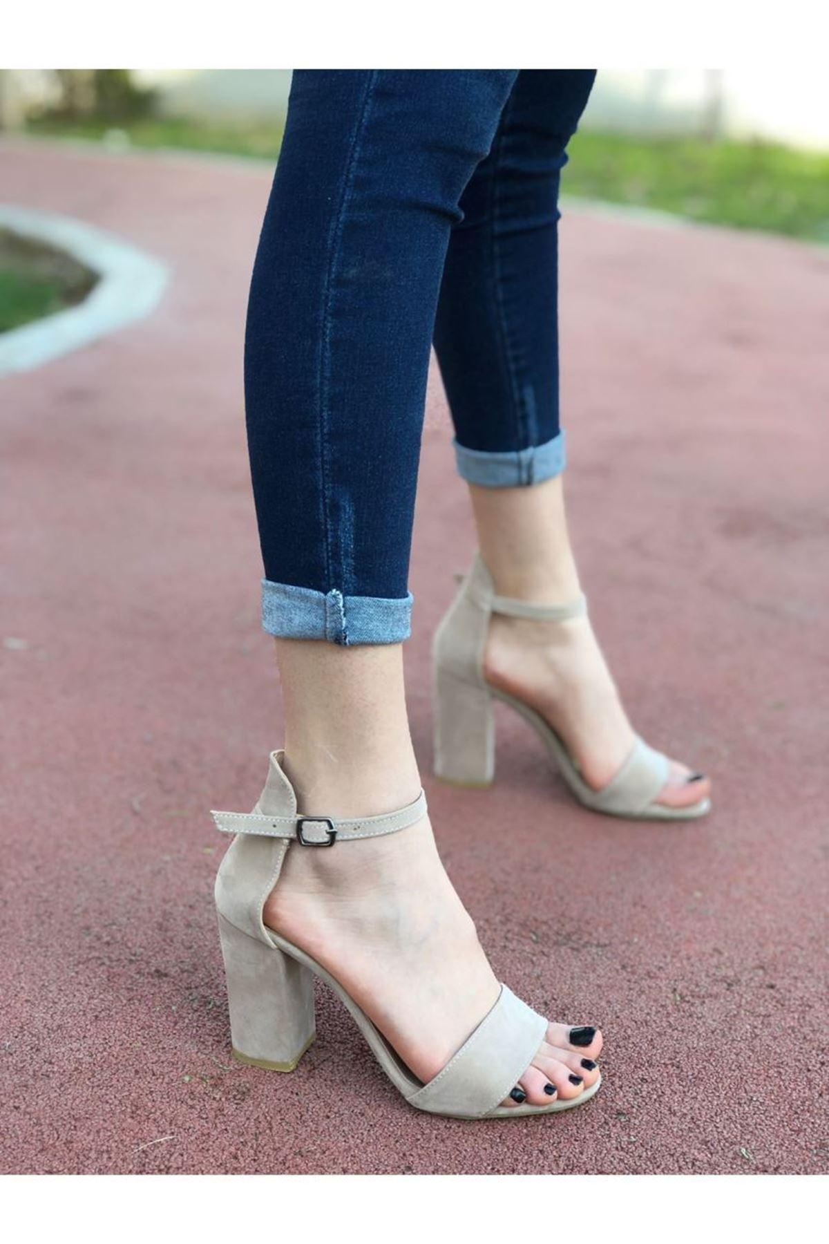 Kadın Perion Ten Süet Topuklu Ayakkabı