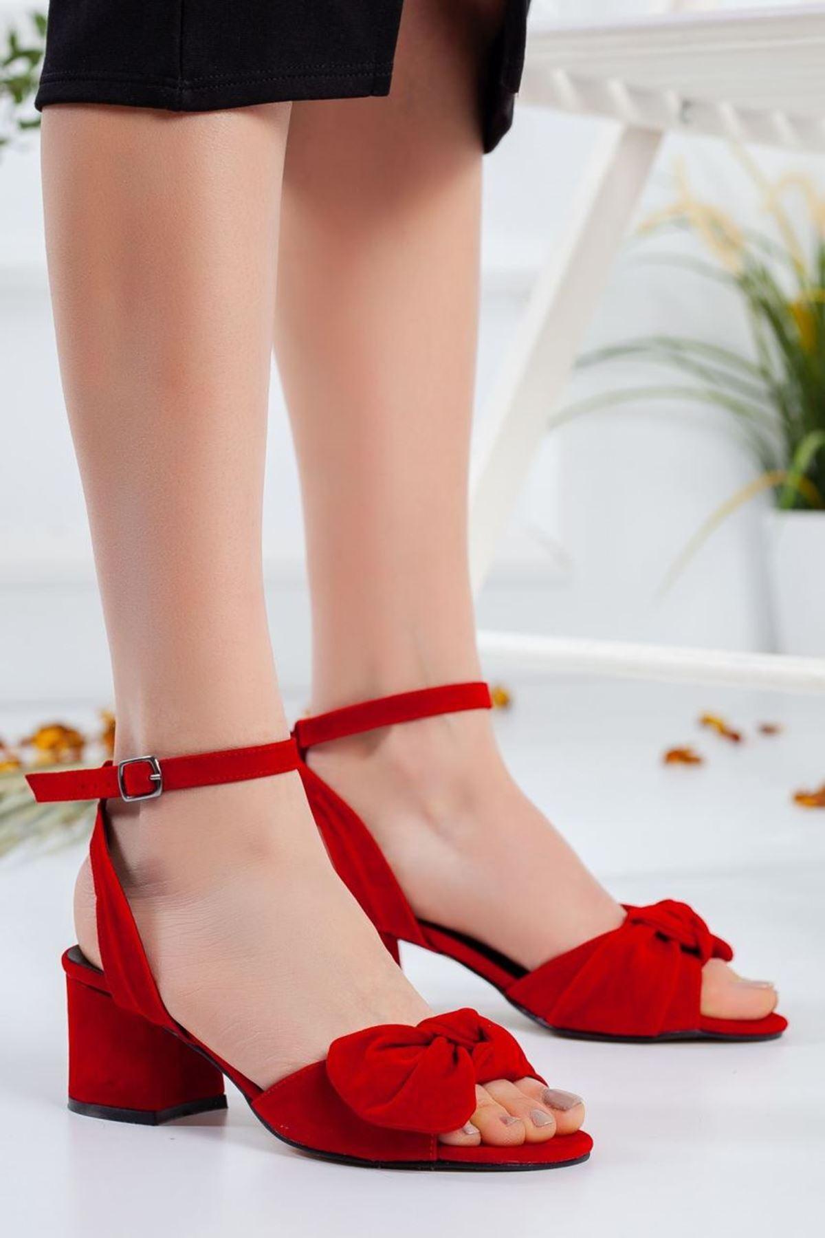 Kadın Zesta Süet Kısa Topuklu Ayakkabı Kırmızı