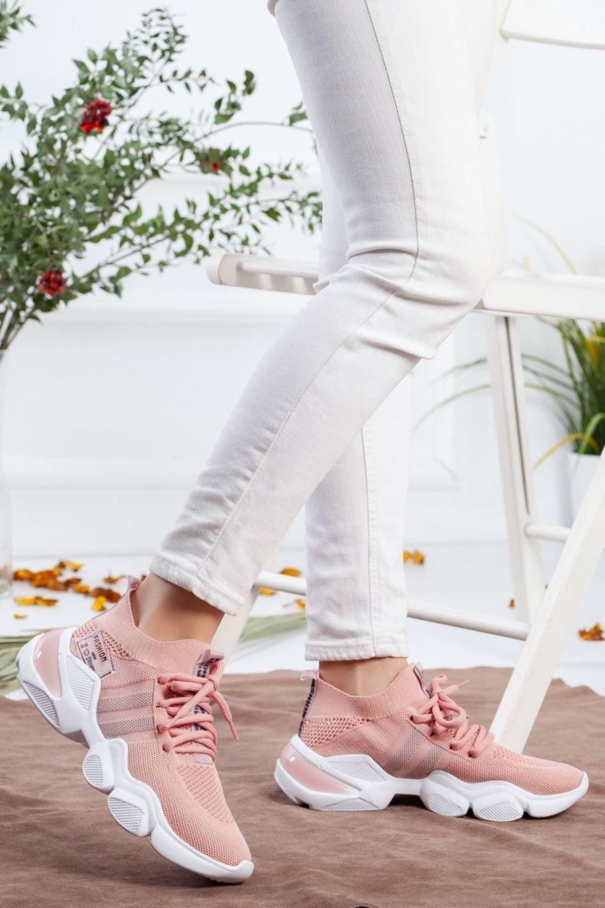 Kadın Sigma Triko Spor Ayakkabı Pudra