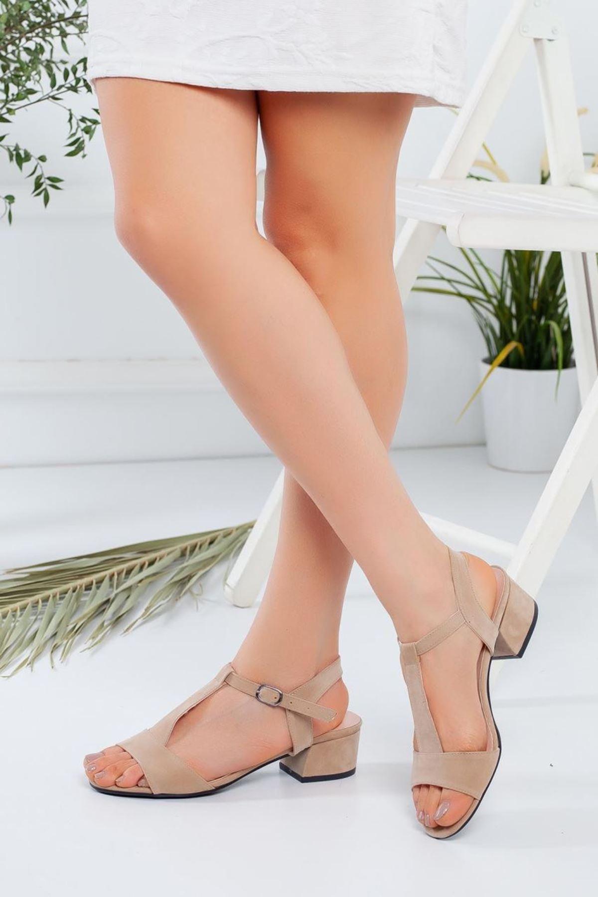 Kadın Lebreli Süet Kısa Topuklu Ayakkabı Bej