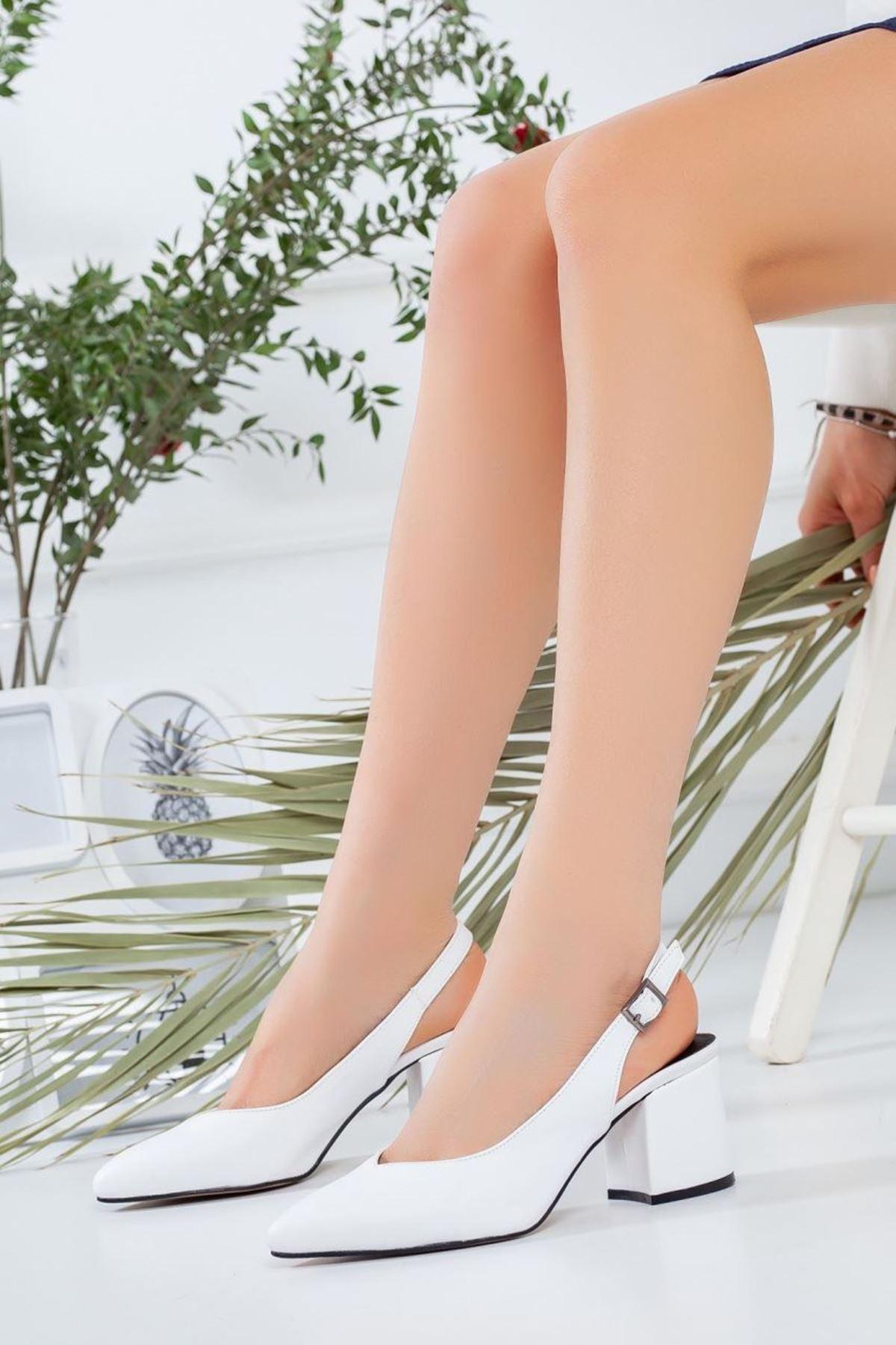 Kadın Porter Beyaz Kısa Topuklu Ayakkabı