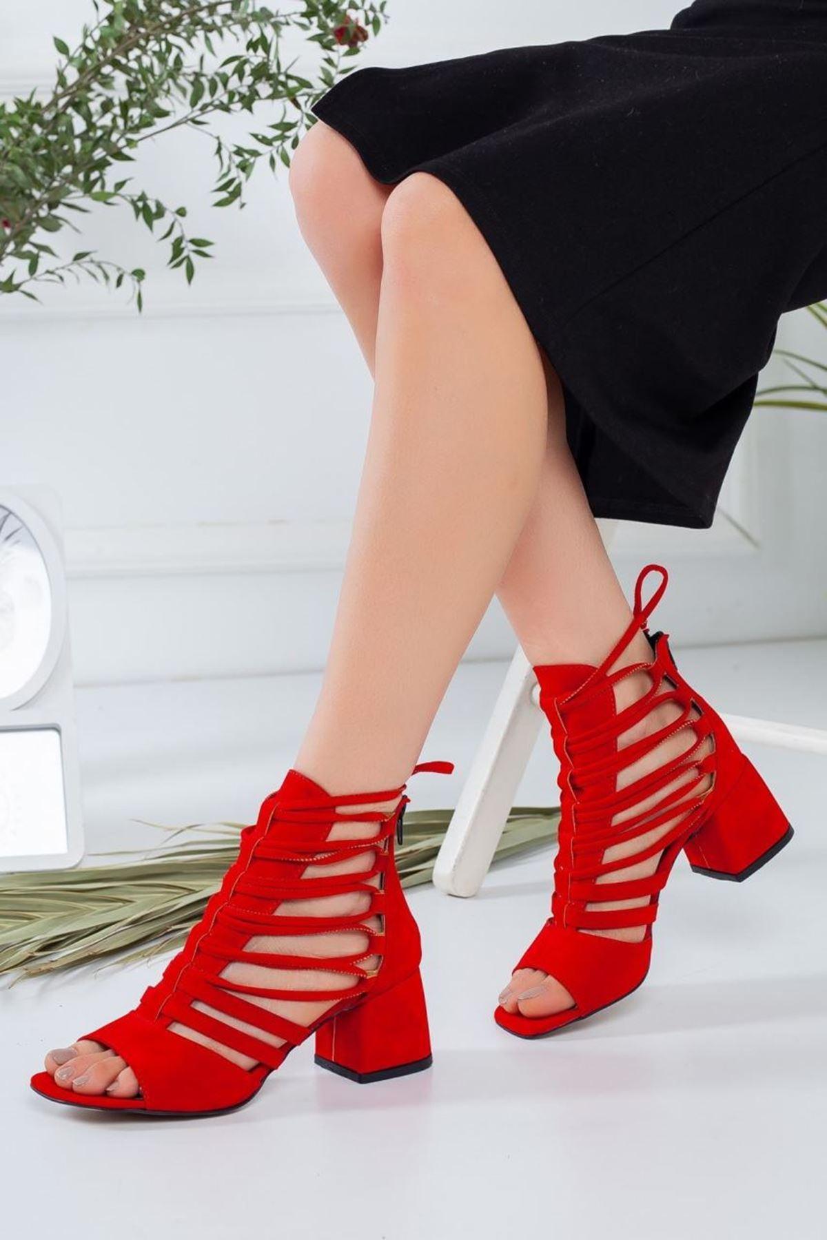 Kadın Ragon Süet Kısa Topuklu Ayakkabı kırmızı