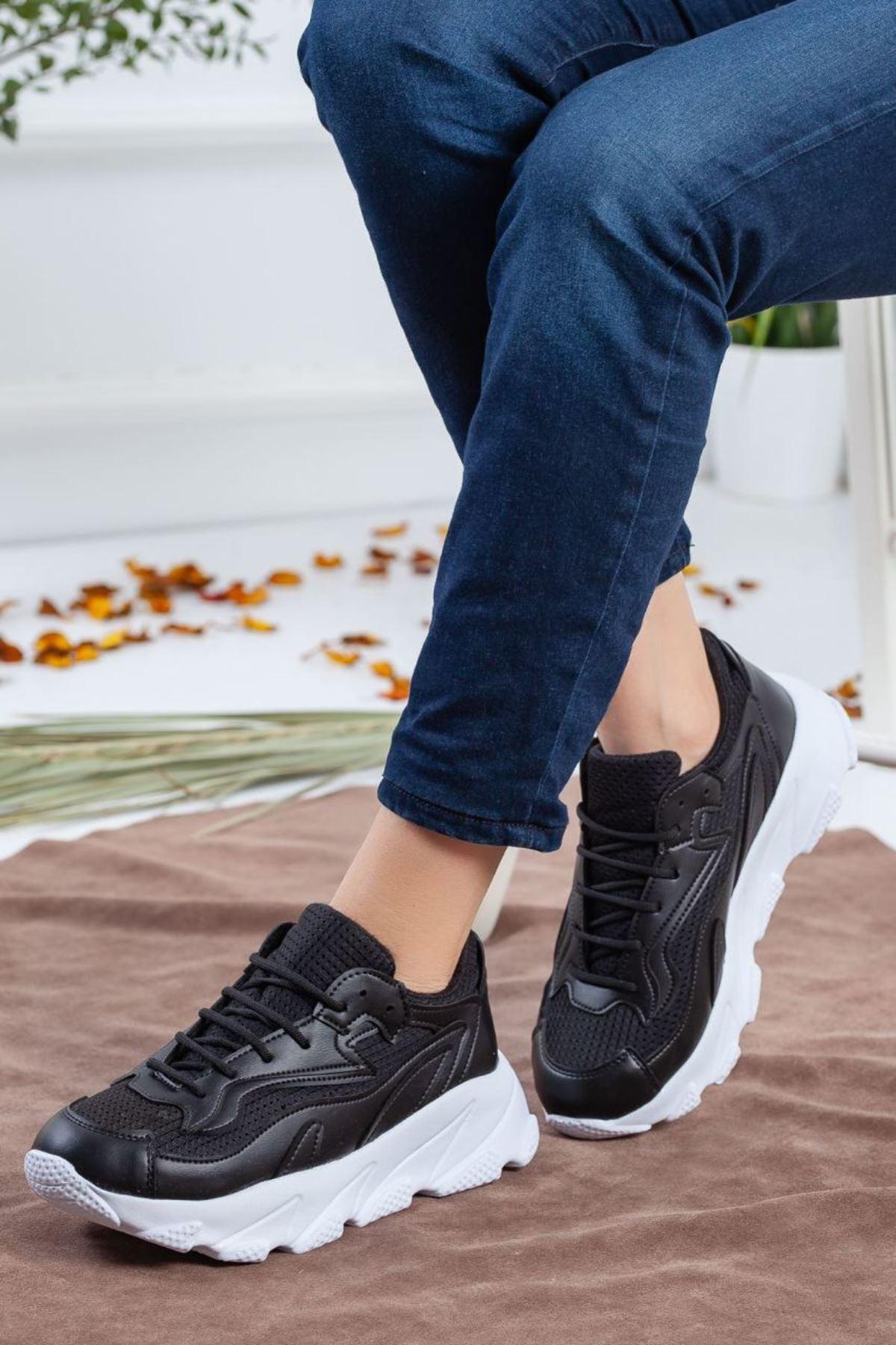 Kadın Eros Mat Deri Spor Ayakkabı Siyah