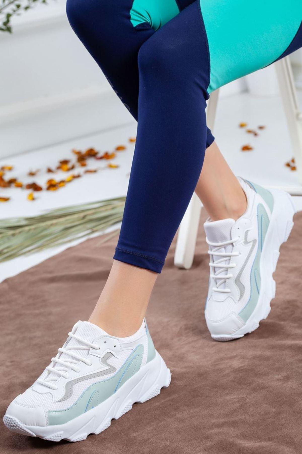 Kadın Eros Mat Deri Spor Ayakkabı Su Yeşili Beyaz
