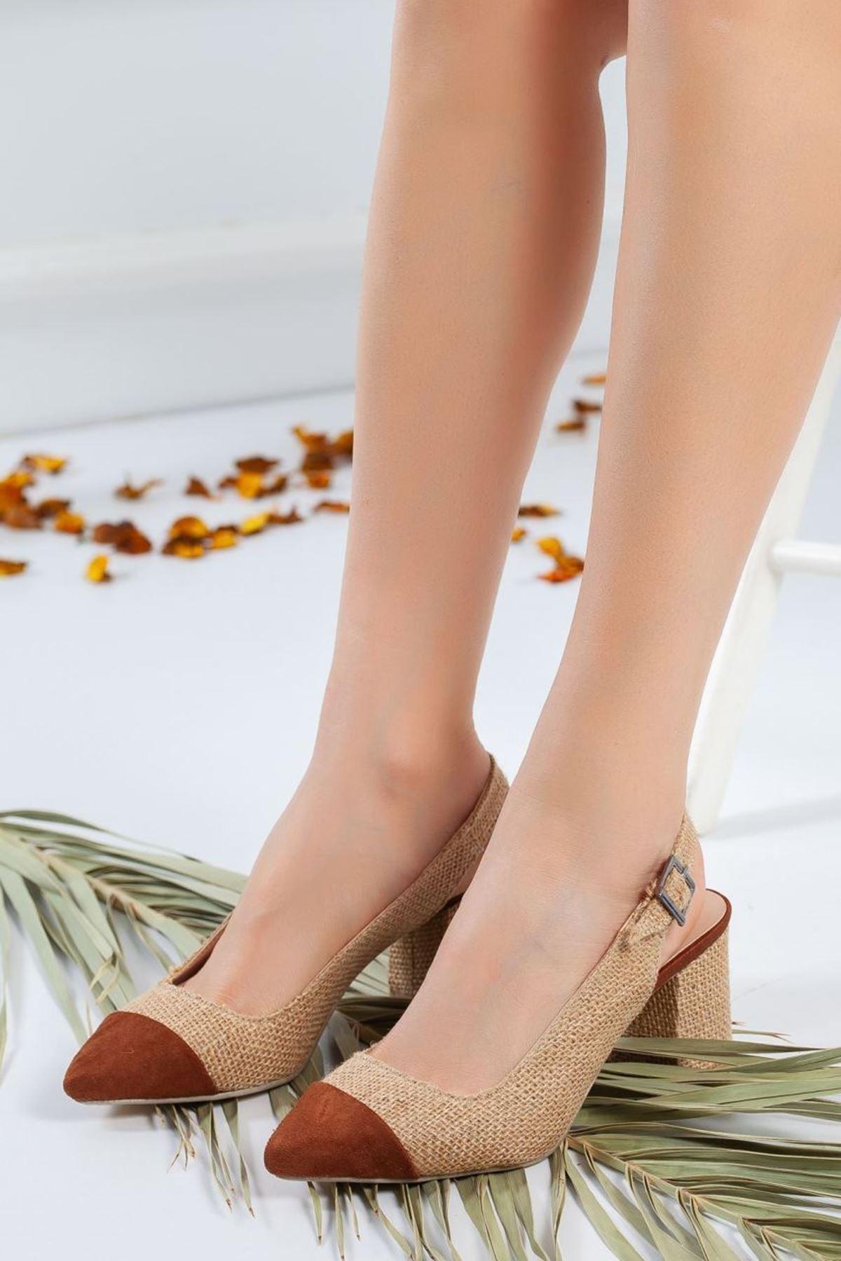 Kadın Besni Kısa Topuklu Ayakkabı Taba Hasır