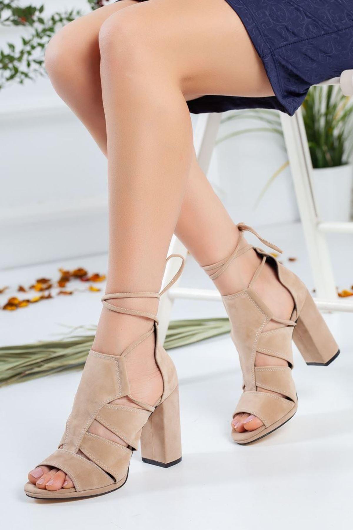 Kadın Risyen  Süet Topuklu Ayakkabi Vizon