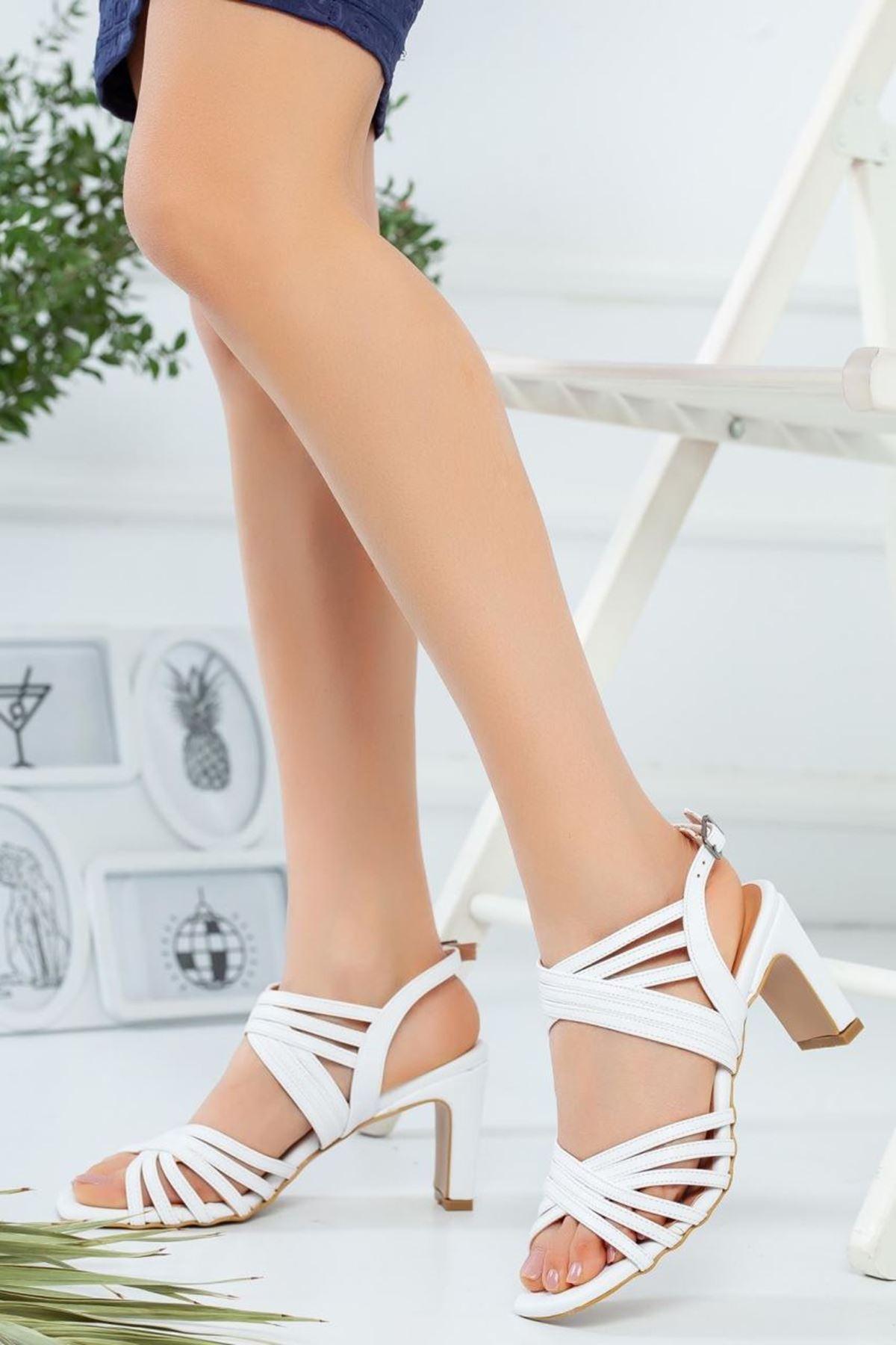Kadın Epime Beyaz Topuklu Ayakkabı