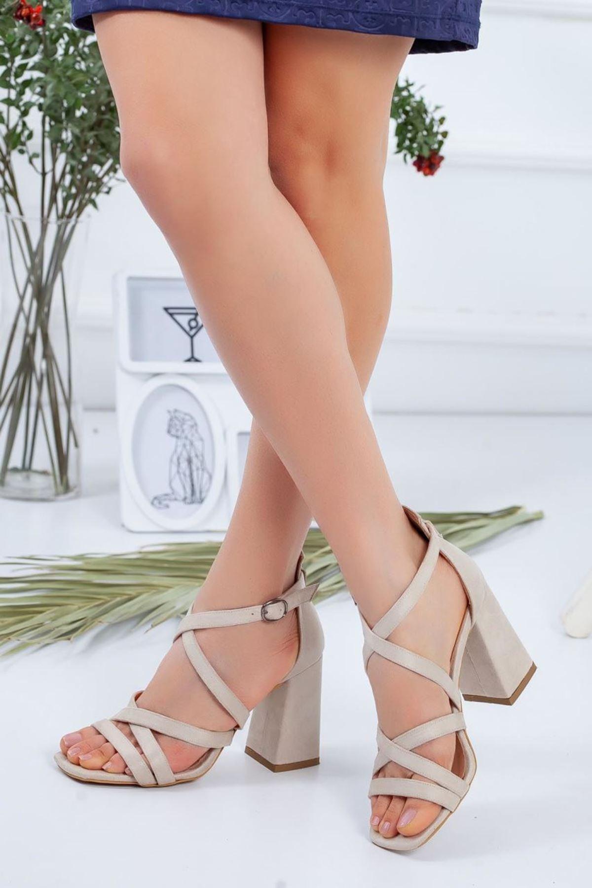 Kadın Proma Bej Topuklu Ayakkabı