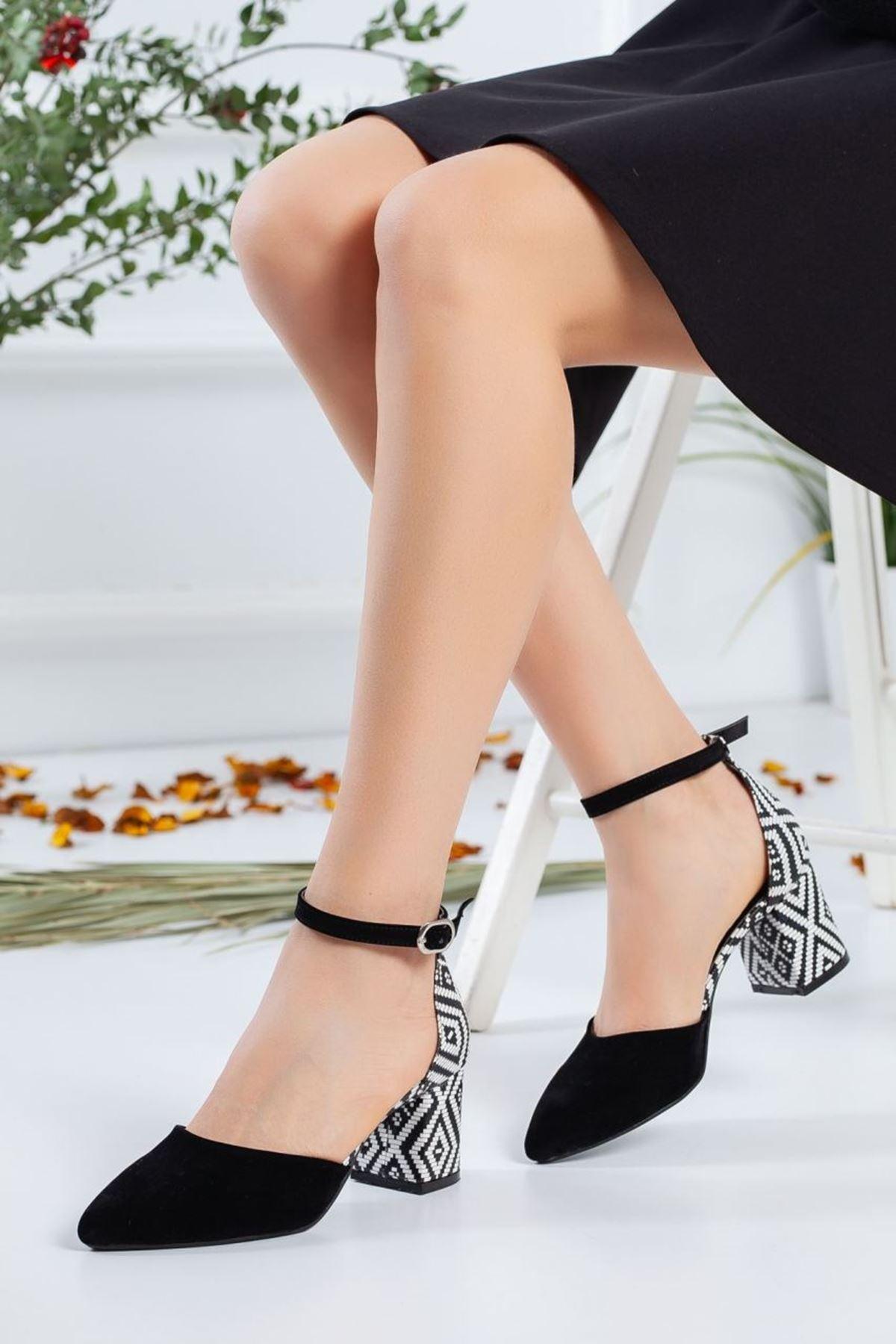 Kadın Cali  Süet Topuklu Ayakkabı Siyah