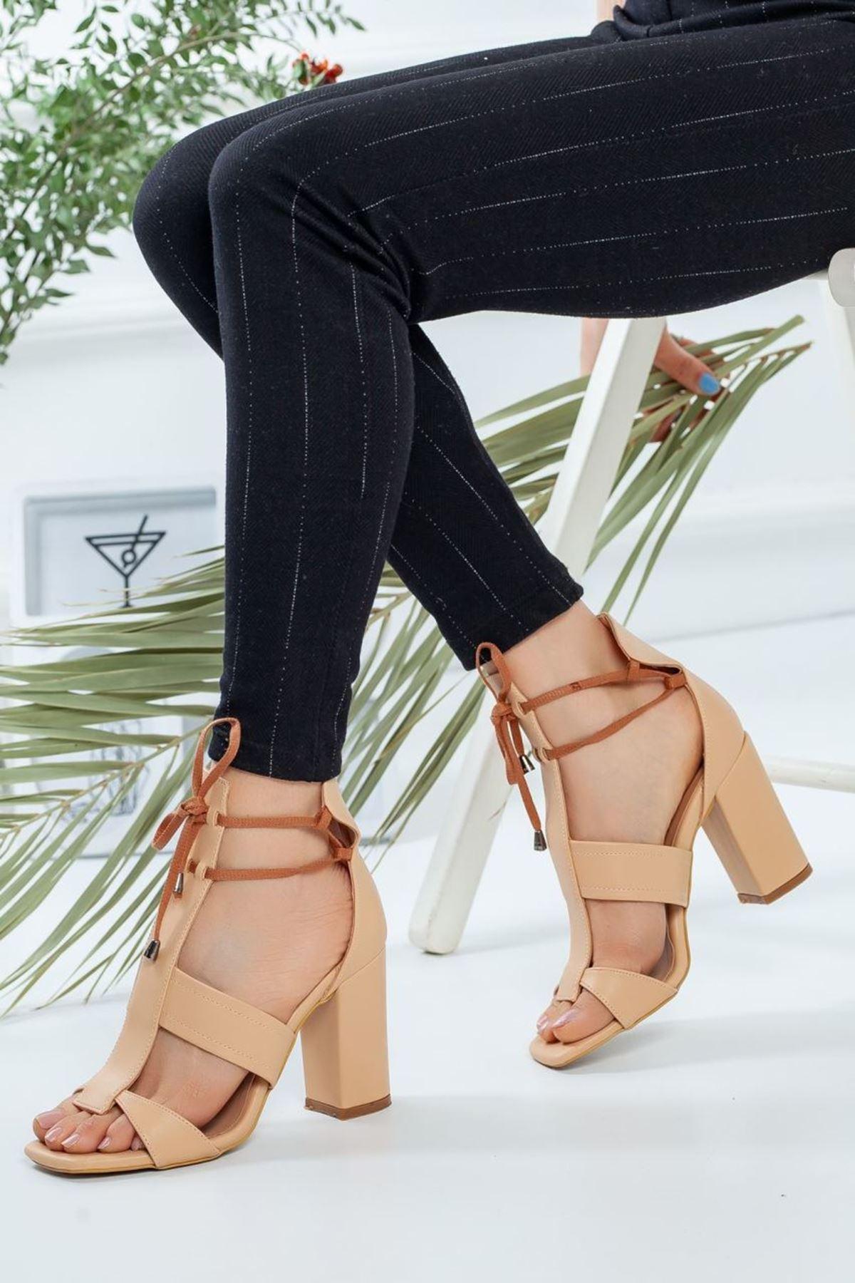 Kadın Okaliptus Nude Topuklu Ayakkabı