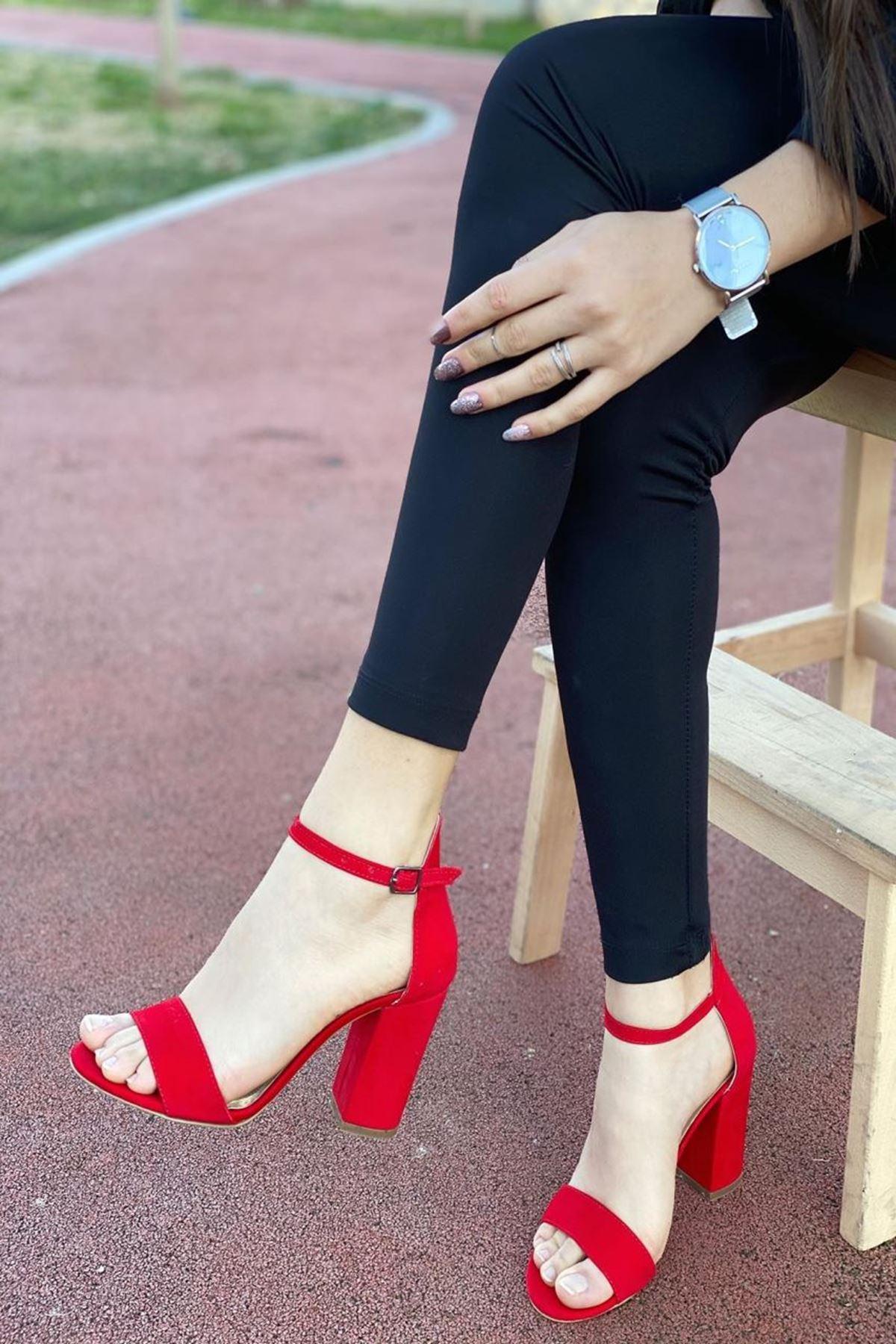 Kadın Perion Kırmızı Süet Topuklu Ayakkabı
