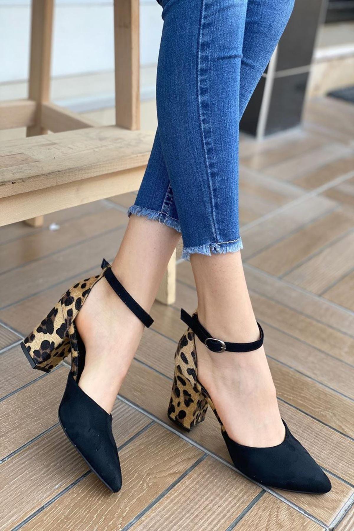 Kadın Pallen Leopar Desenli Topuklu Ayakkabı