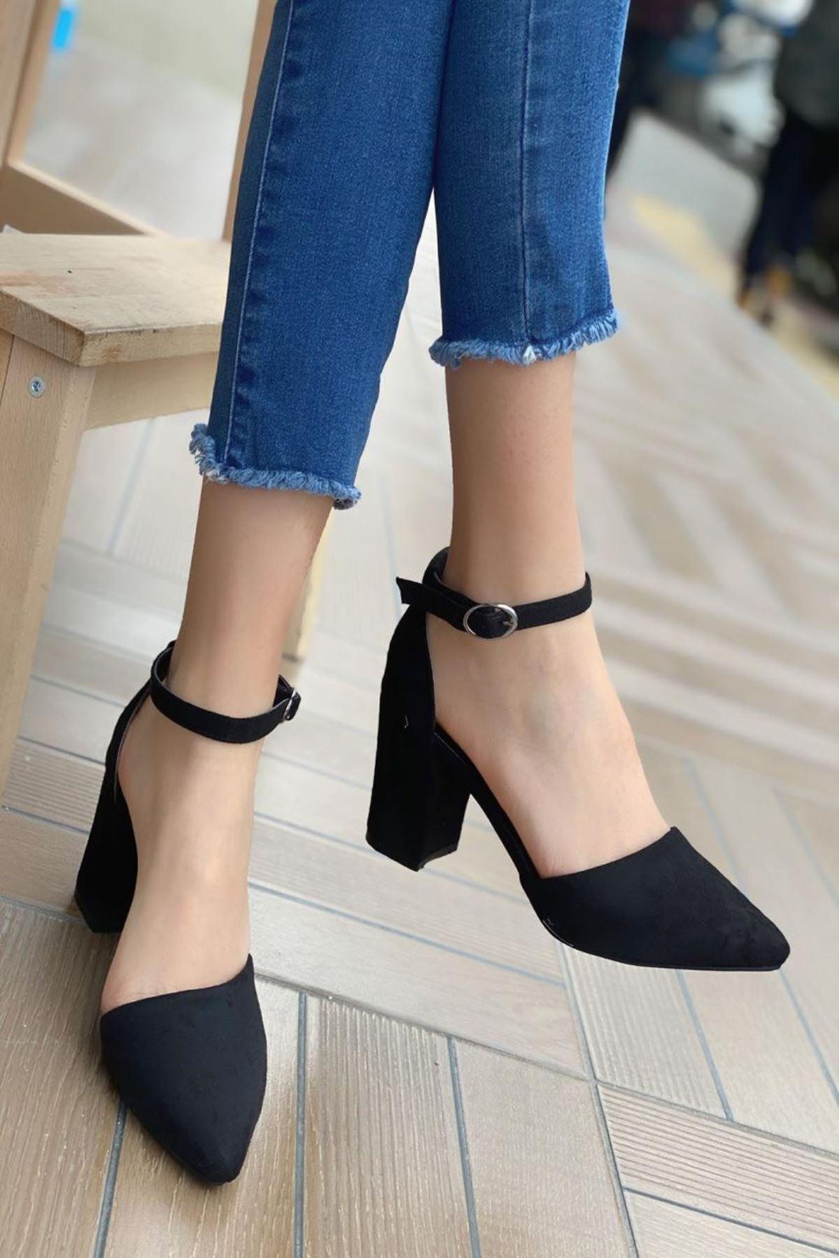 Kadın Celar Siyah Süet Topuklu Ayakkabı