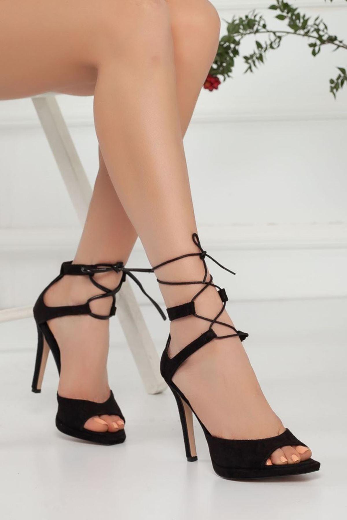 Kadın Bona Siyah Süet Topuklu Ayakkabı