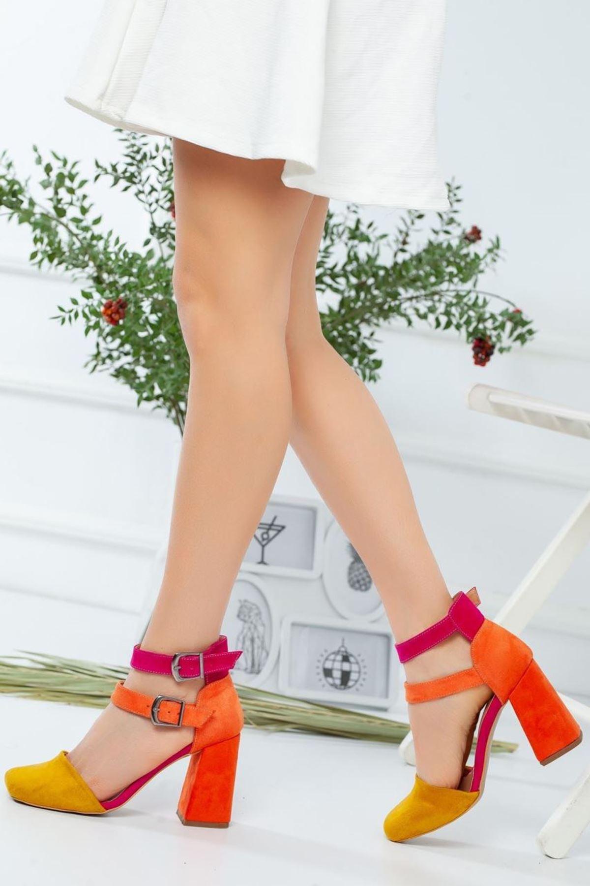 Kadın Narvi Hardal Topuklu Ayakkabı
