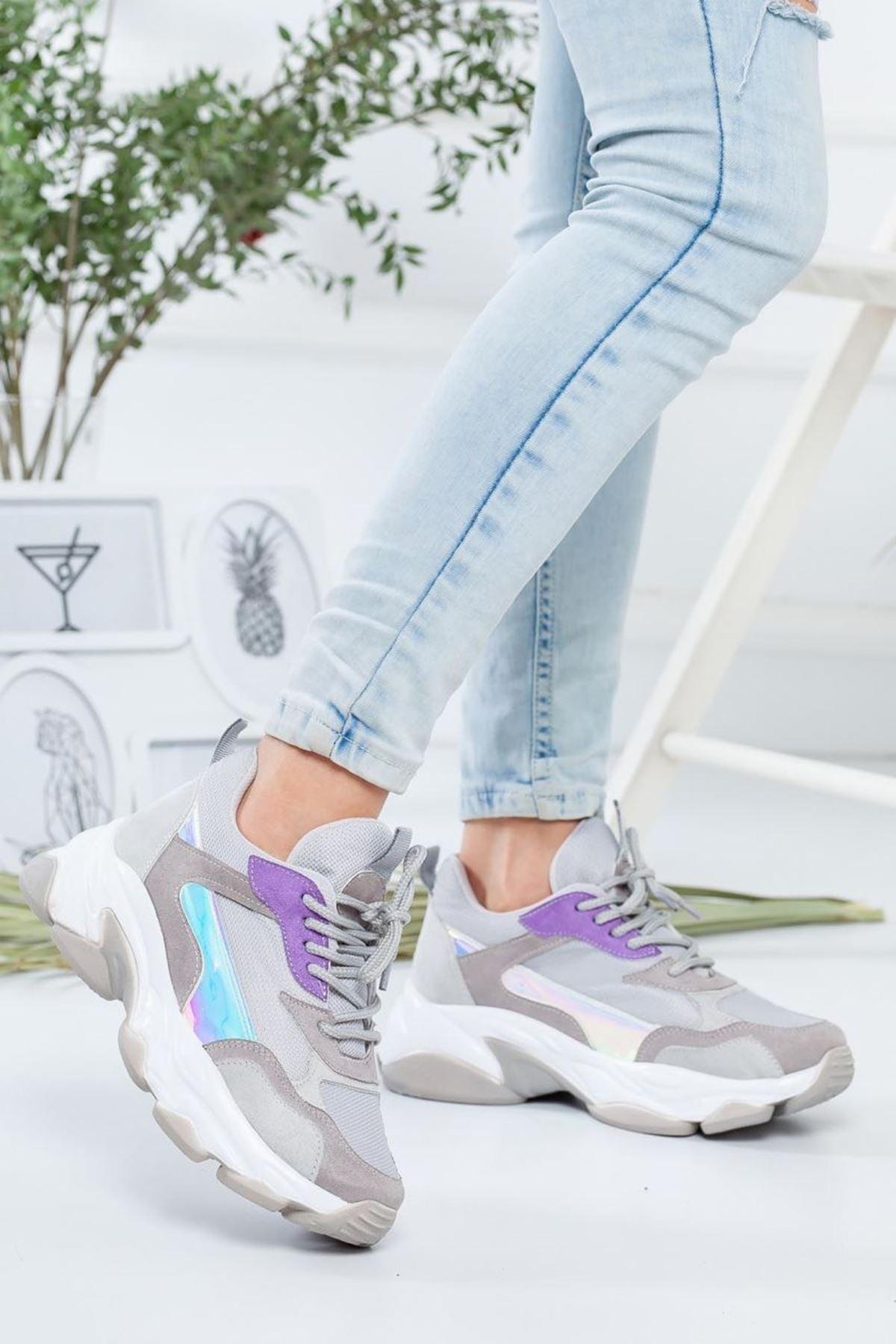 Kadın Reborn Gri Mor Sneakers Ayakkabısı