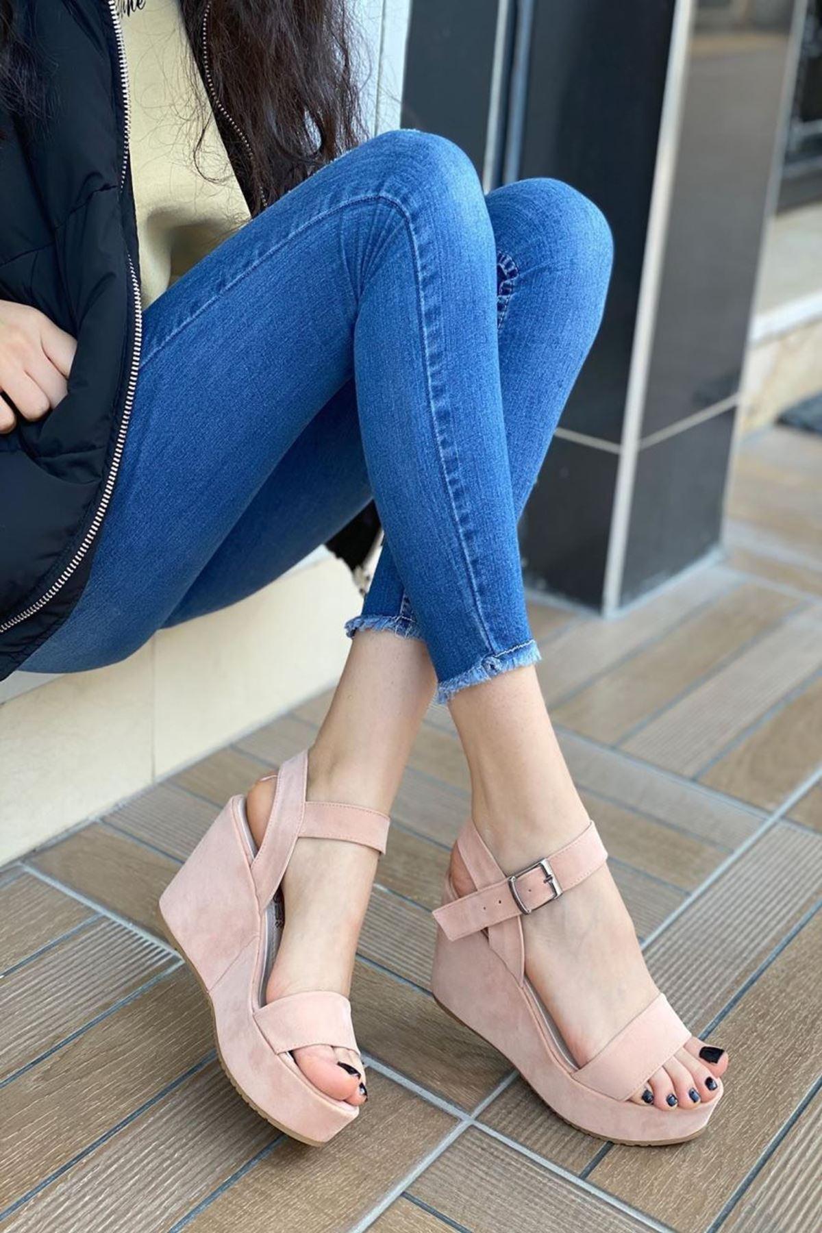 Kadın Methone Pudra Dolgu Topuk Ayakkabı
