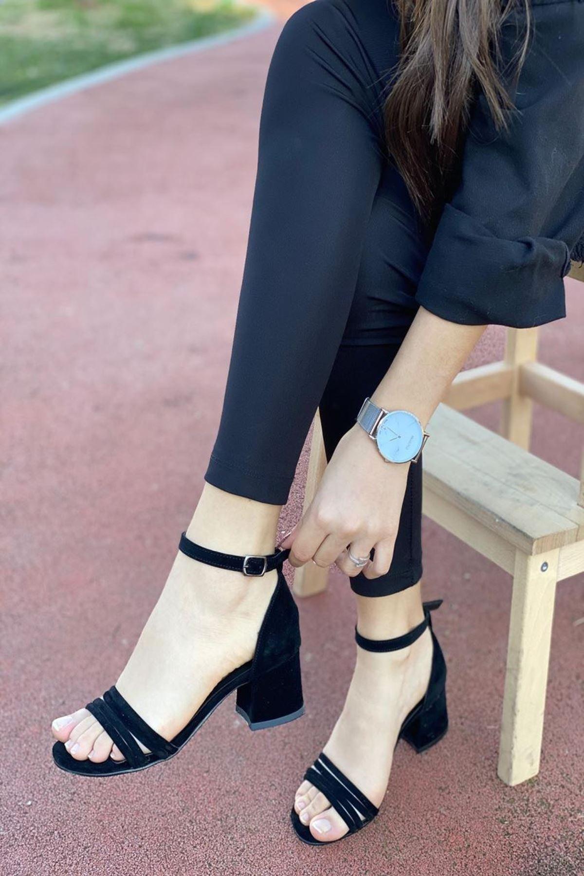 Kadın Natin Süet Siyah Hafif Topuklu Ayakkabı