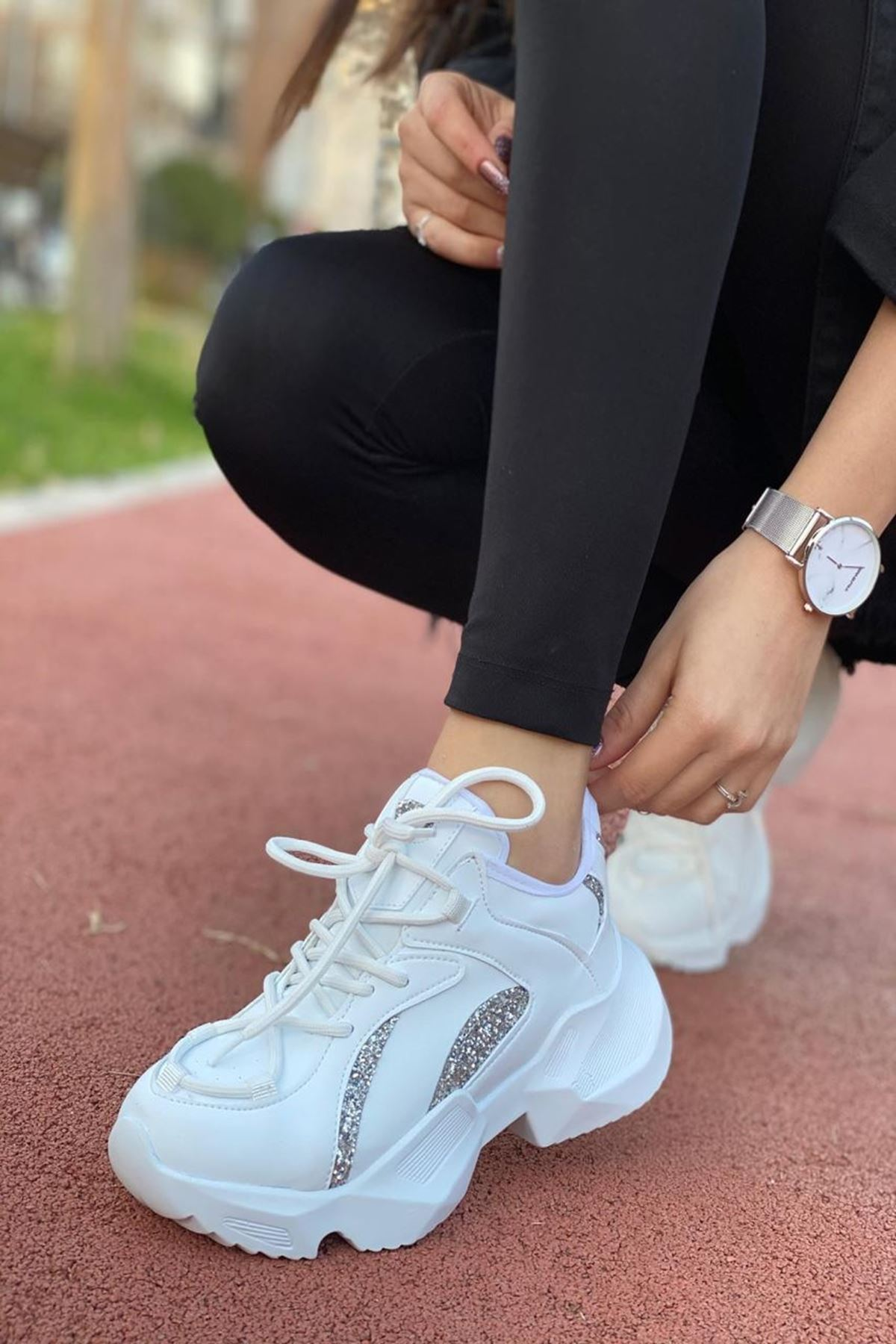 Kadın Arna Beyaz Gümüş Desenli Sneakers Ayakkabı