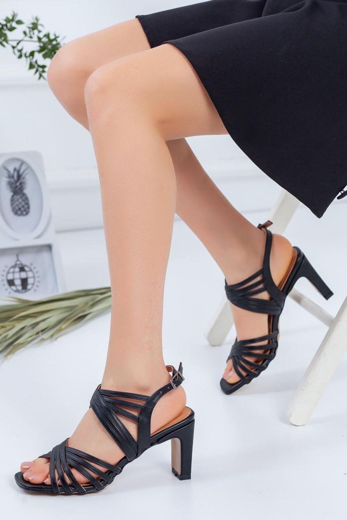 Kadın Epime Siyah Topuklu Ayakkabı