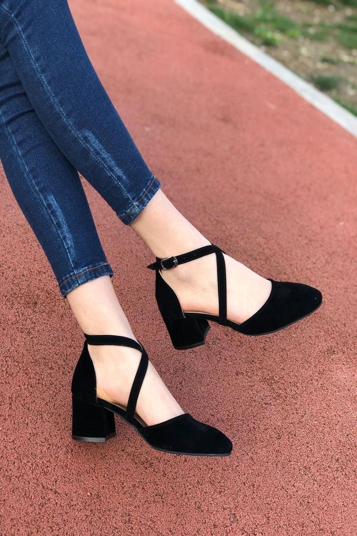 Kadın Albe Siyah Süet Hafif Topuklu Ayakkabı
