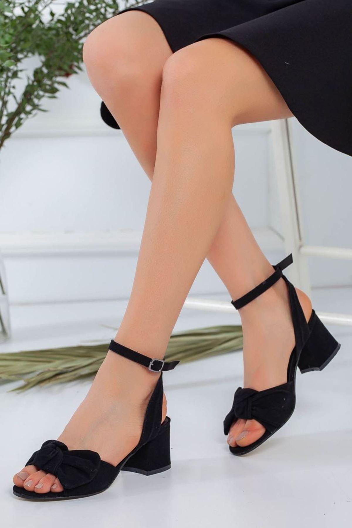 Kadın Zesta Süet Kısa Topuklu Ayakkabı Siyah