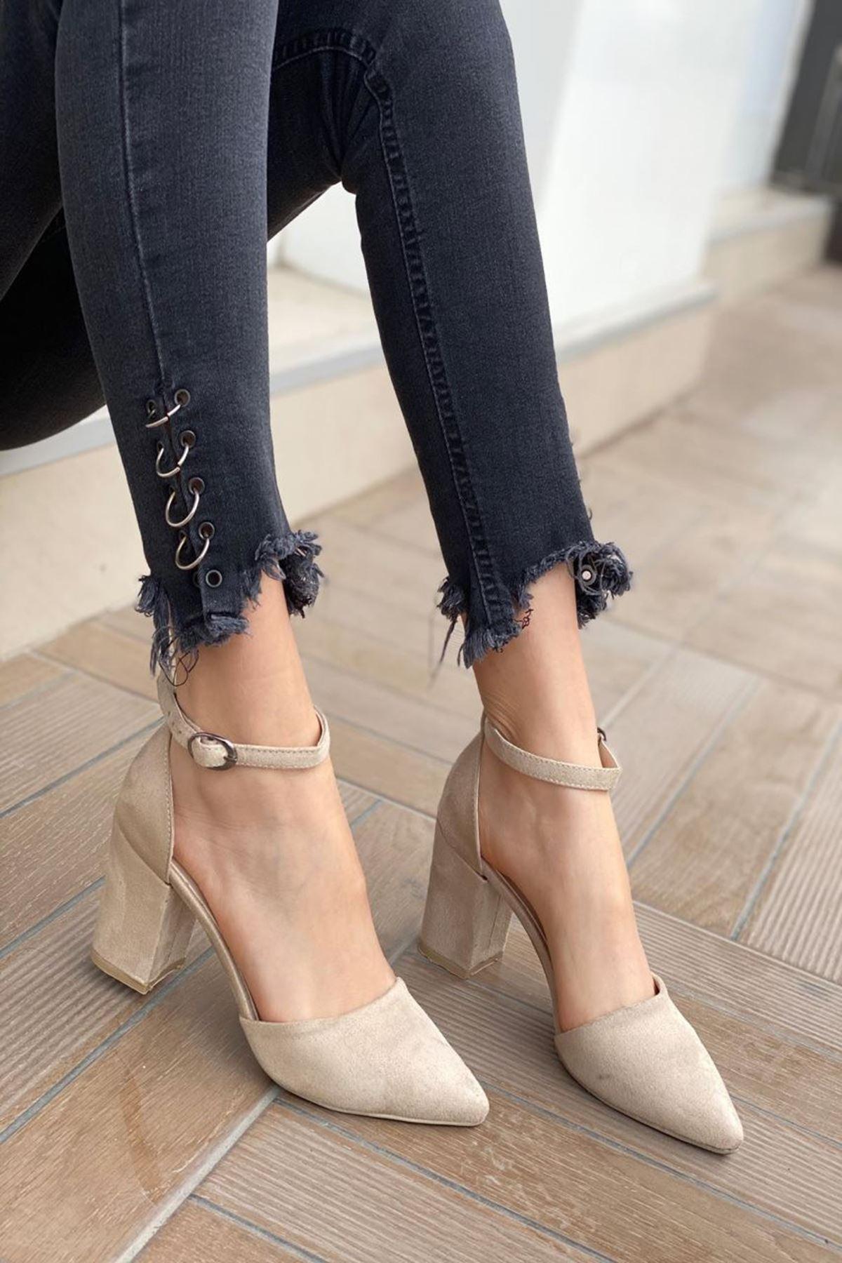 Kadın Celar Vizon Süet Topuklu Ayakkabı