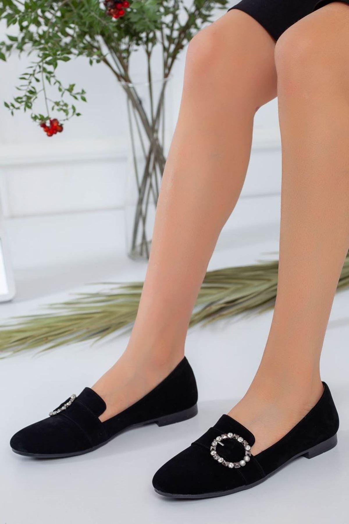 Kadın Stella Siyah Süet Babet Ayakkabı
