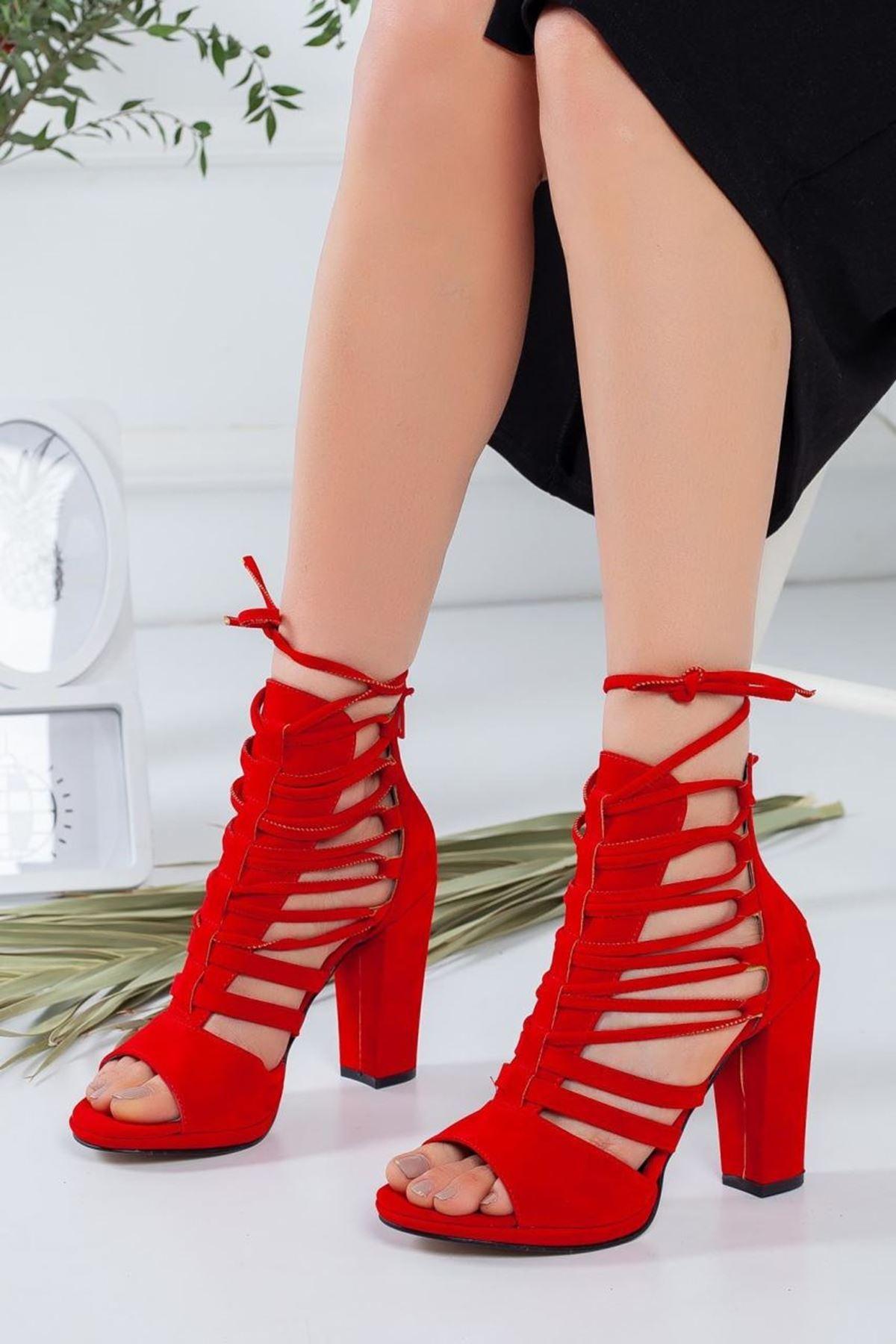 Kadın Brige Kırmızı Topuklu Ayakkabı