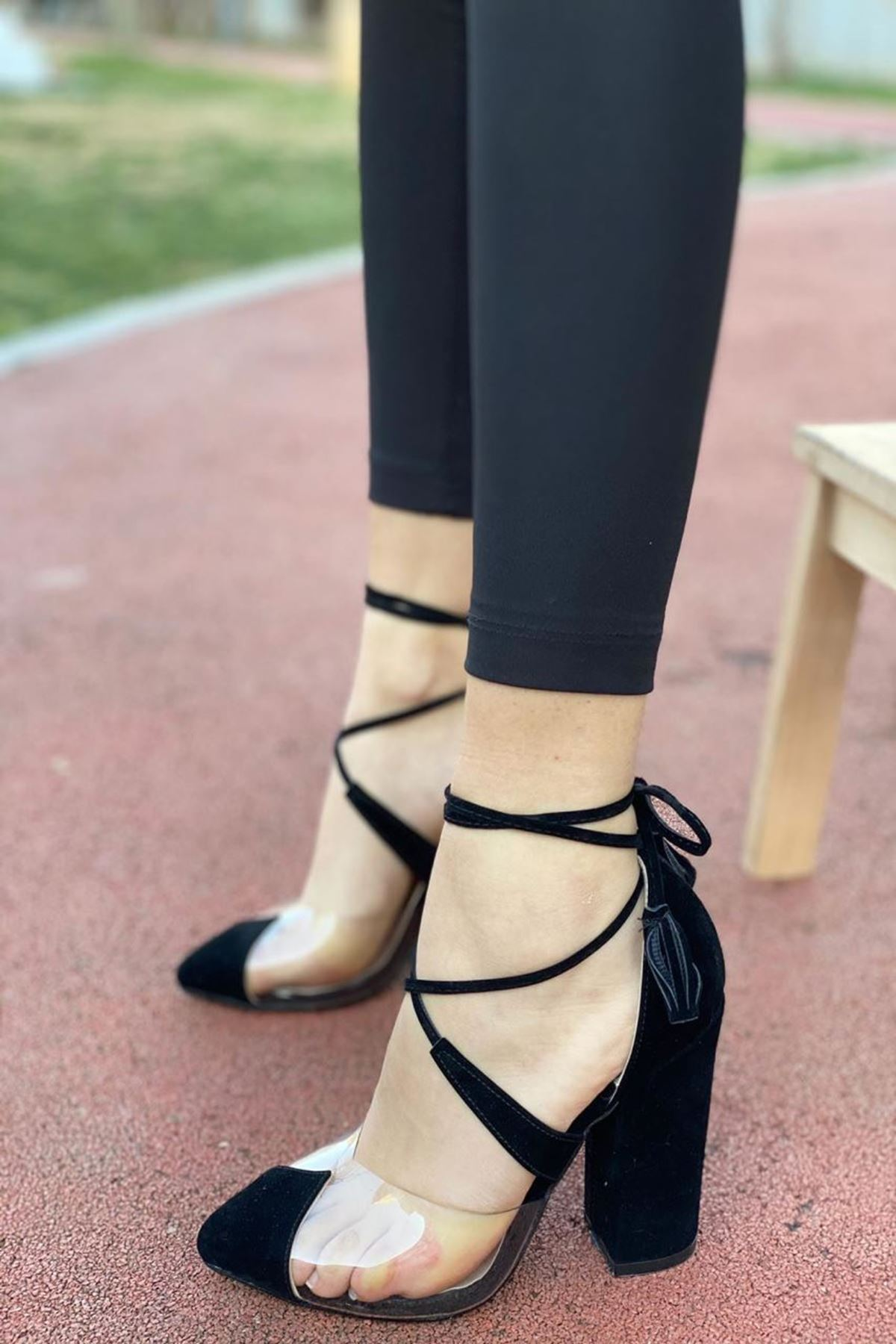 Kadın Appus Şeffaf Topuklu Ayakkabı Siyah