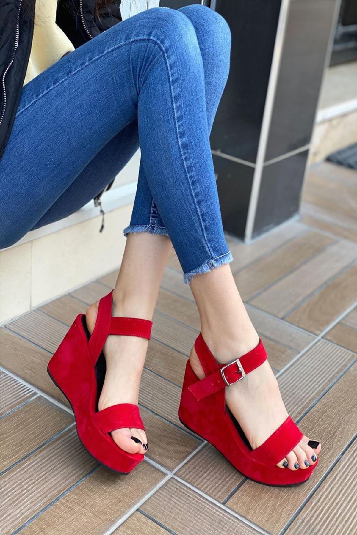 Kadın Methone Kırmızı Dolgu Topuk Ayakkabı