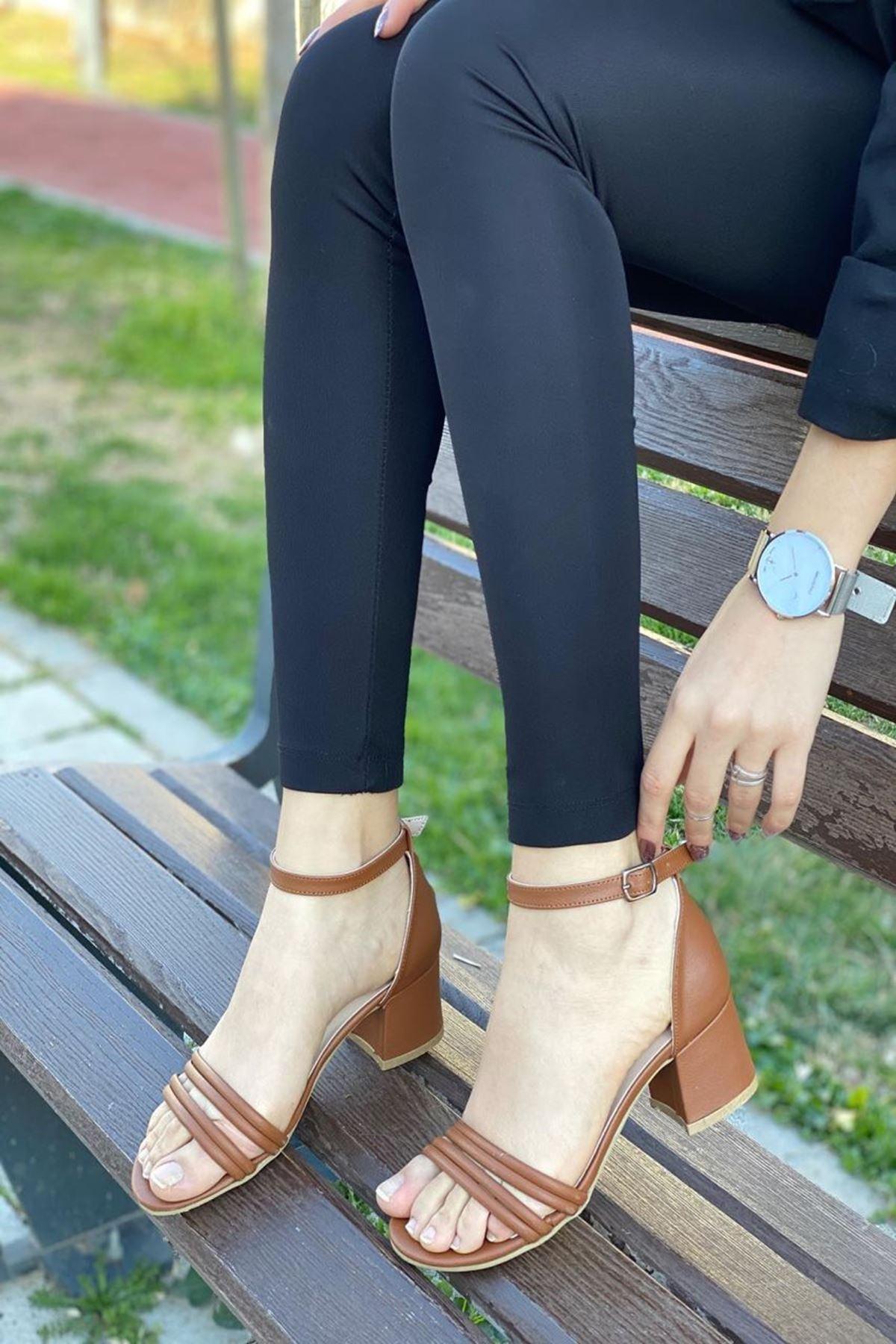 Kadın Natin Taba Hafif Topuklu Ayakkabı