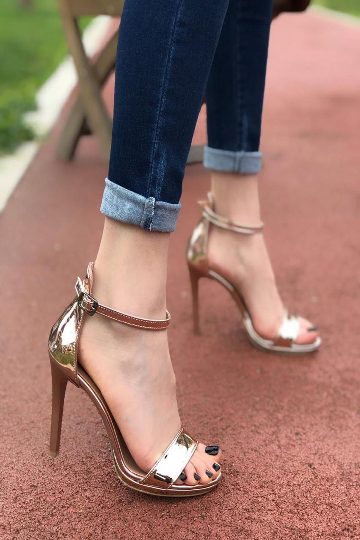 Kadın Anta Roz Topuklu Ayakkabı