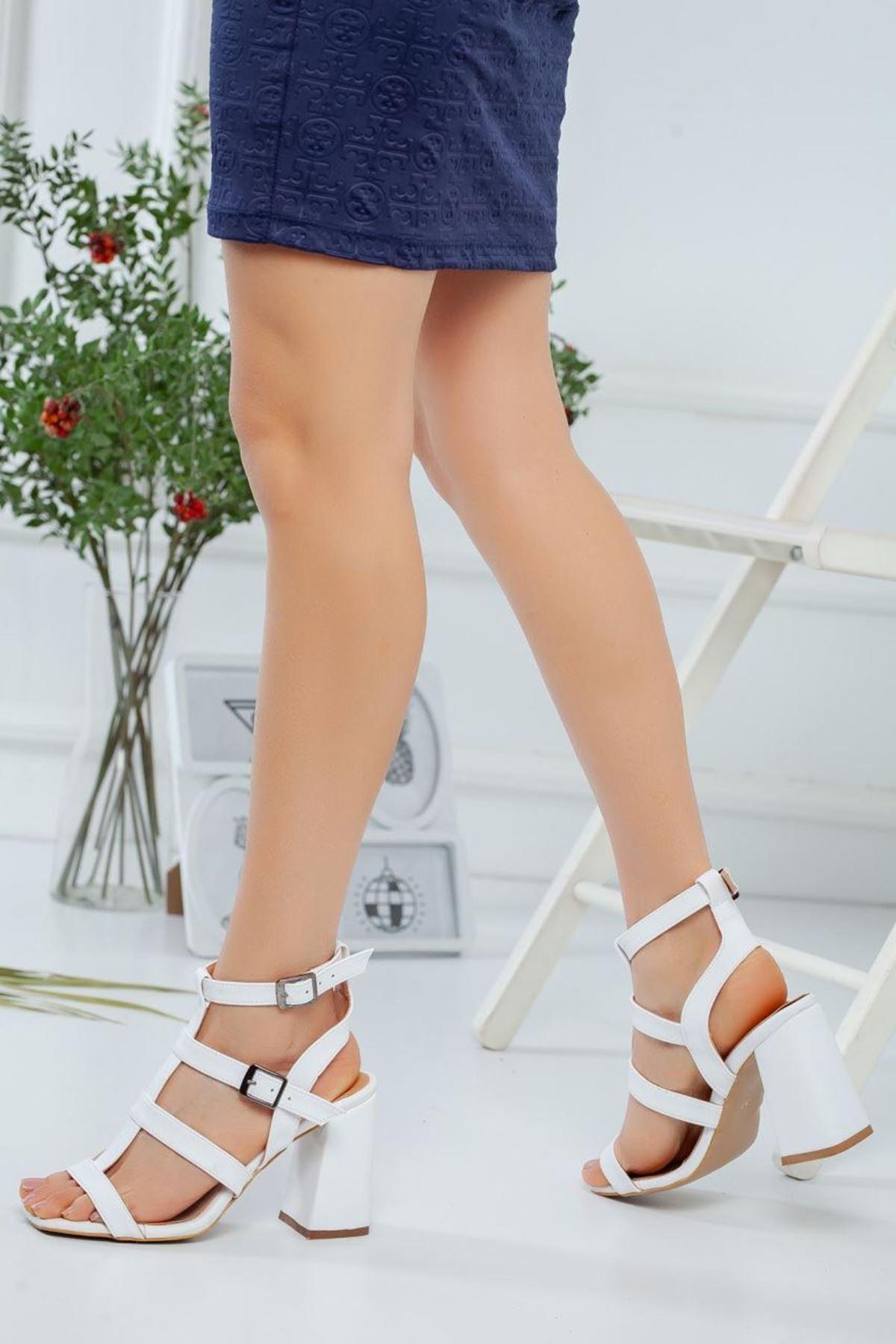 Kadın Elga Beyaz Topuklu Ayakkabı