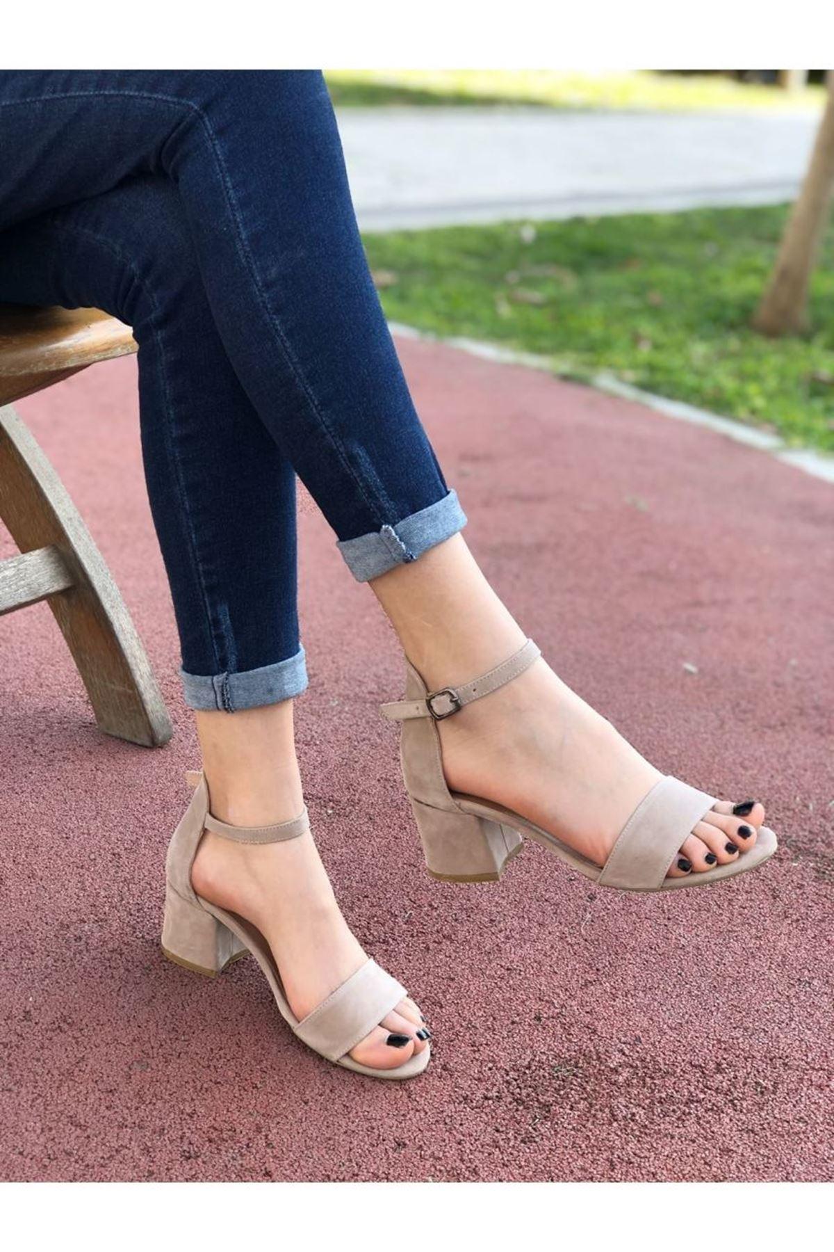 Kadın Lord Vizon Süet Topuklu Ayakkabı