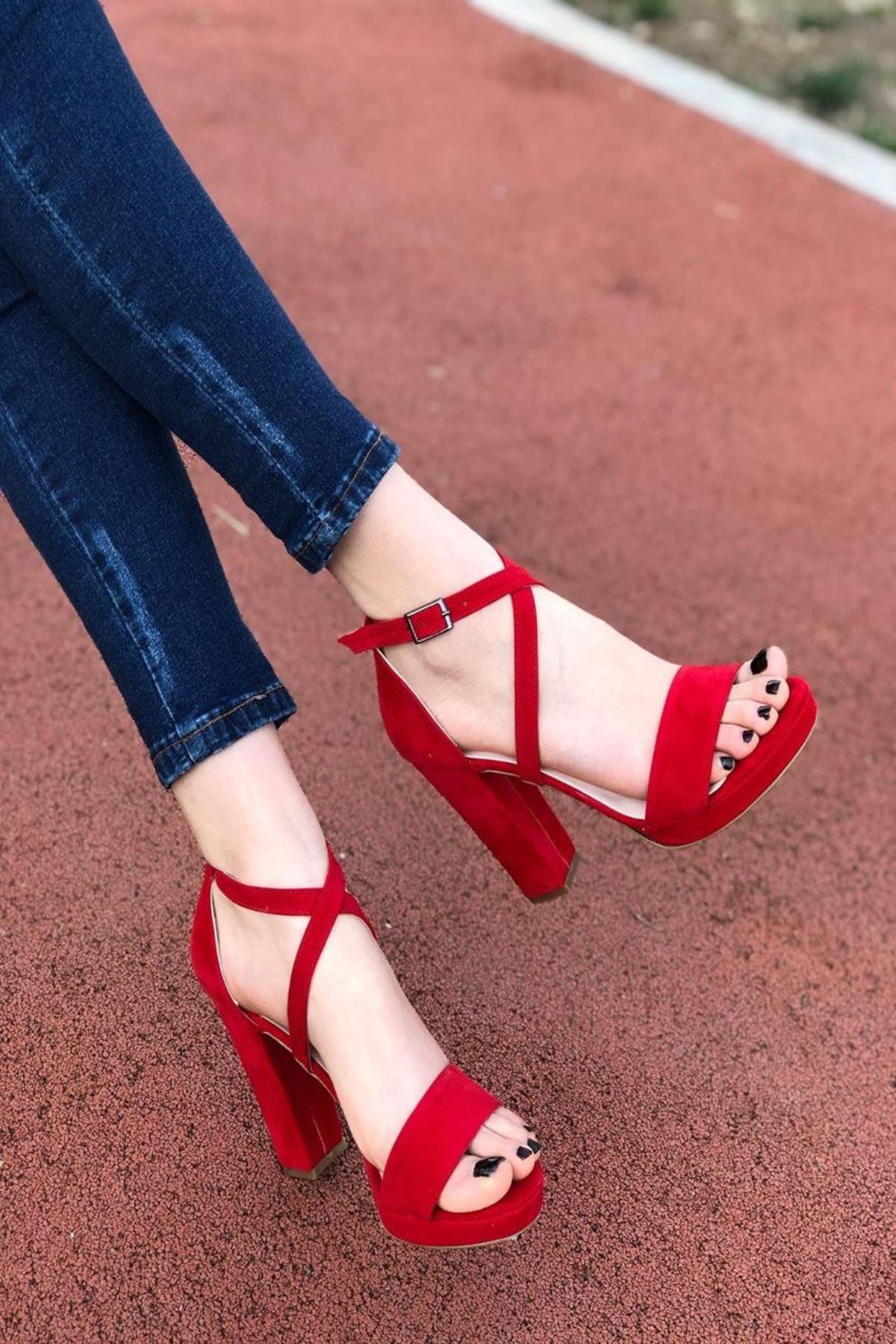 Kadın Duke Kırmızı Süet Topuklu Ayakkabı