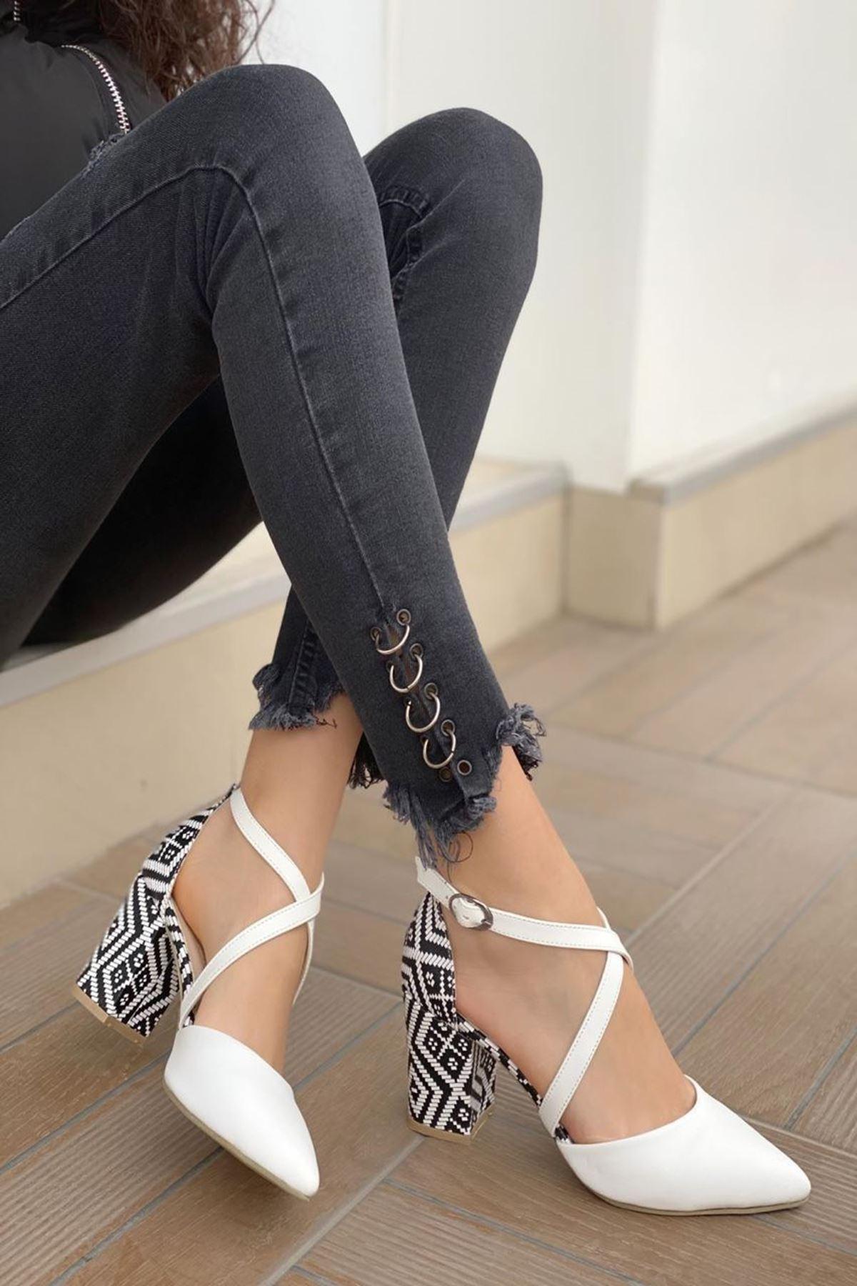 Kadın Lanus Beyaz Deri Topuklu Ayakkabı