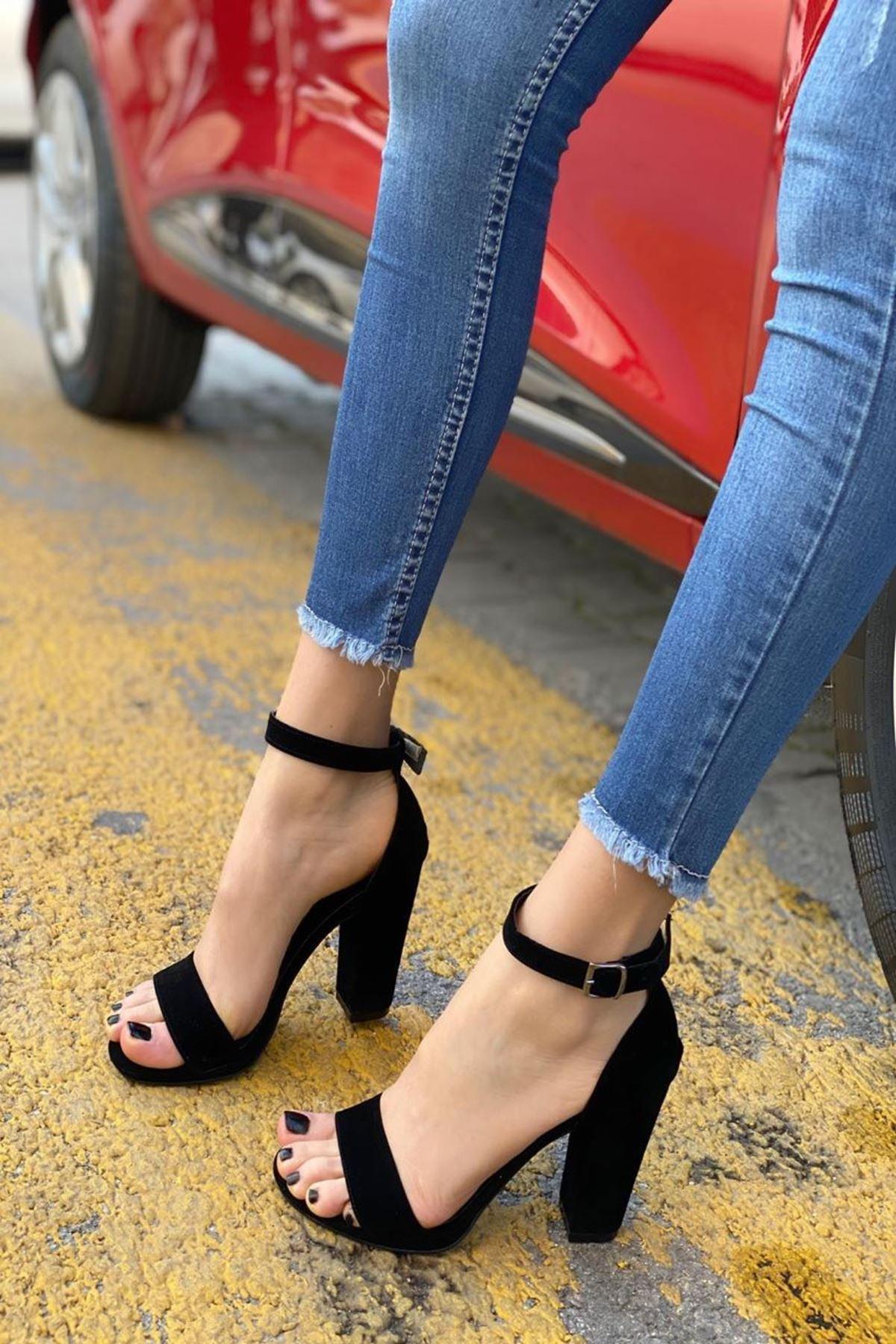 Kadın Marcas Siyah Süet Topuklu Ayakkabı