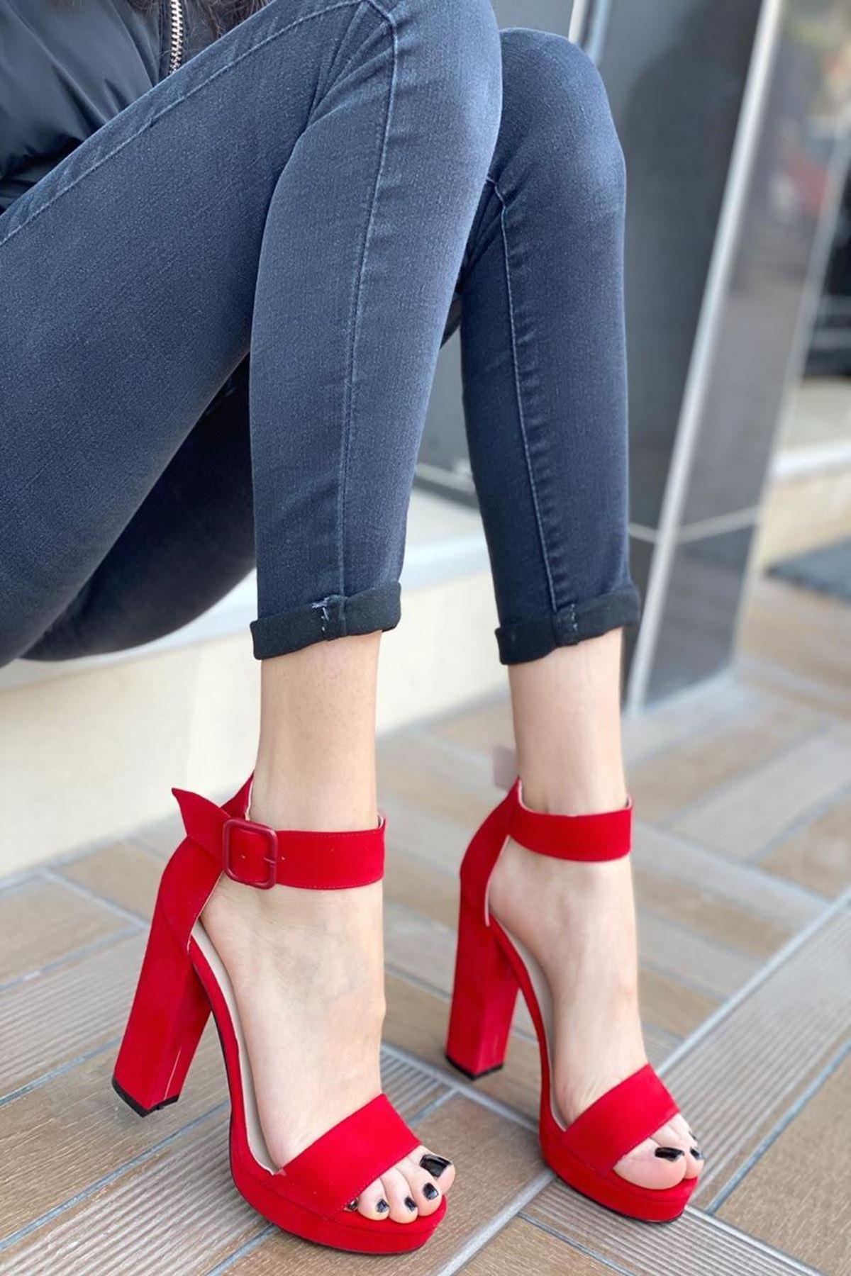 Kadın Margaret Süet Topuklu Ayakkabı Kırmızı
